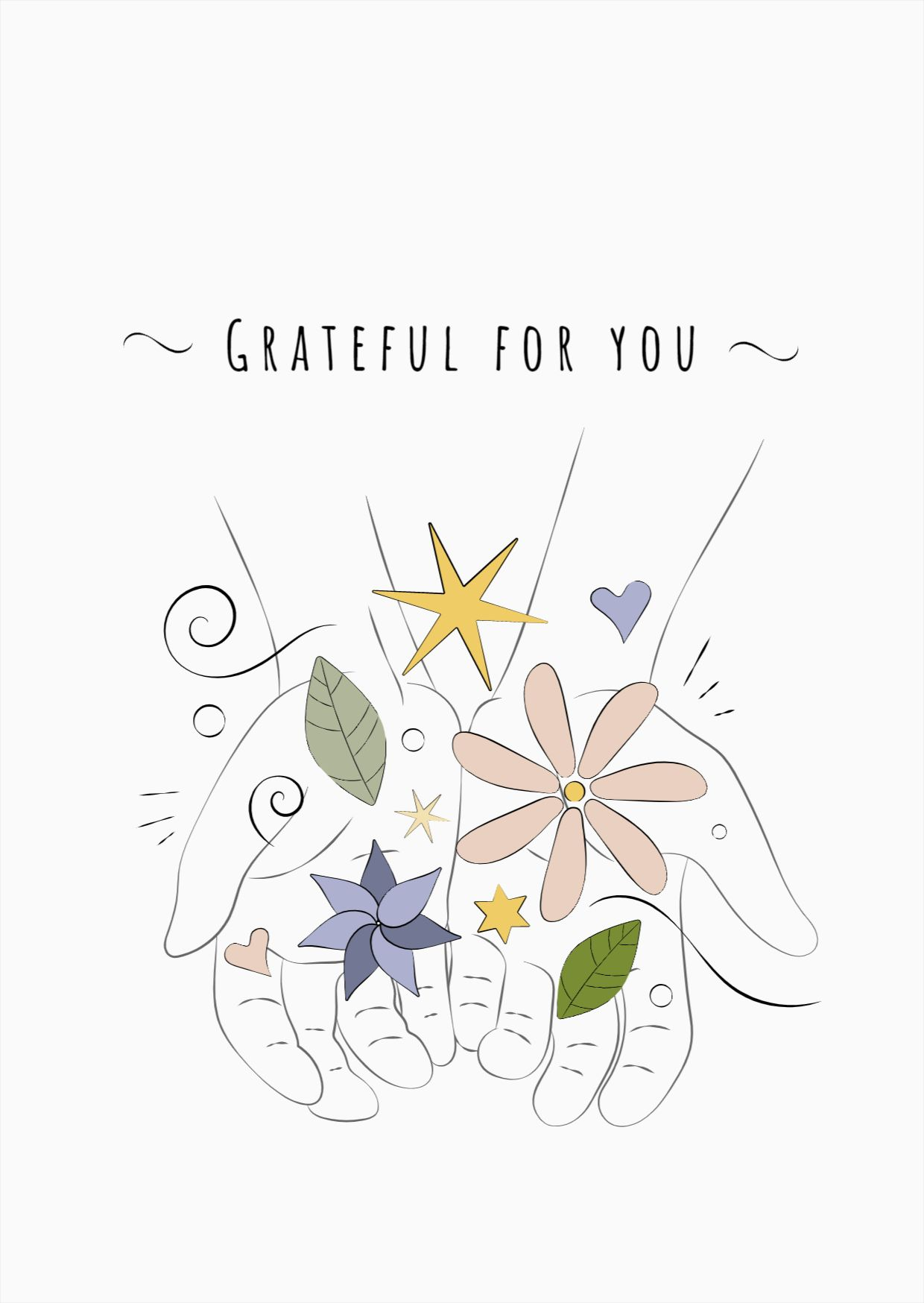 Grateful Hands Greeting Card Design Template