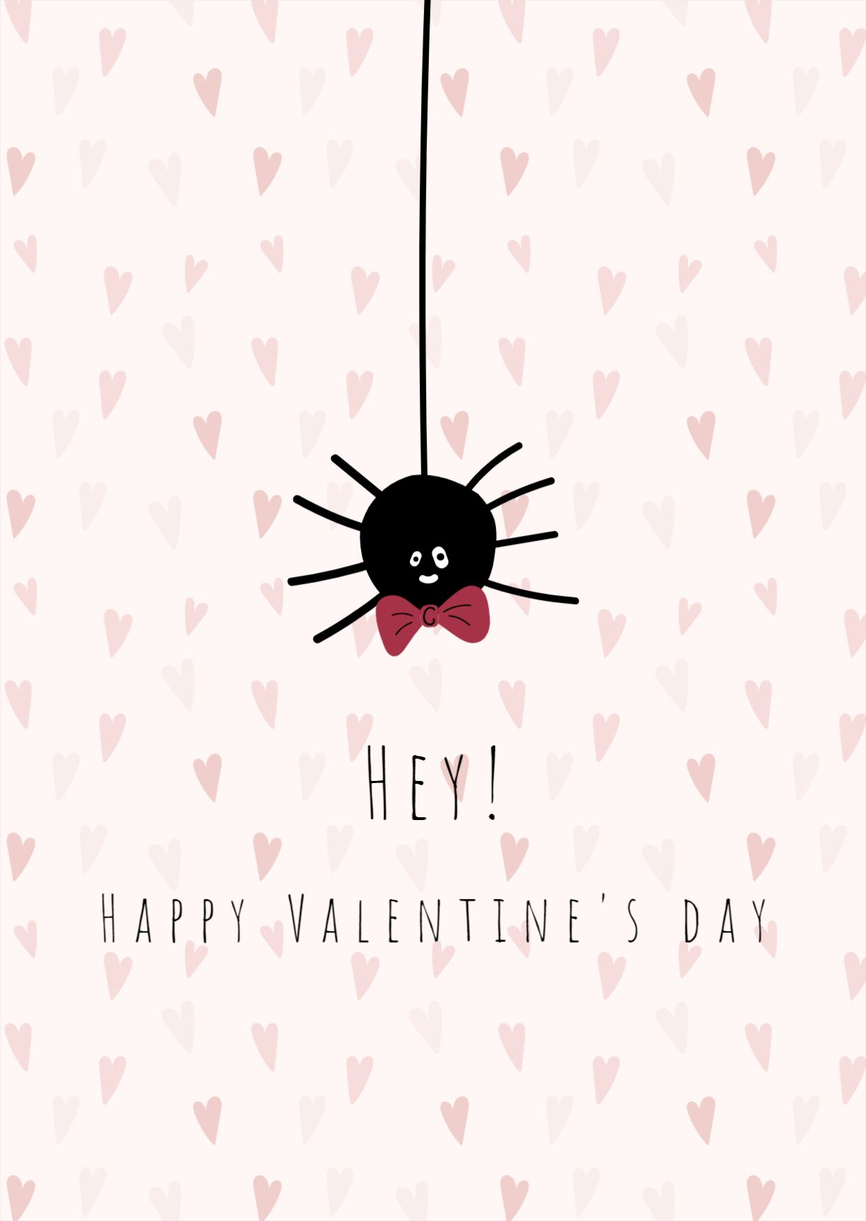 Spooky Spider Valentines Day Greeting Card Post Template