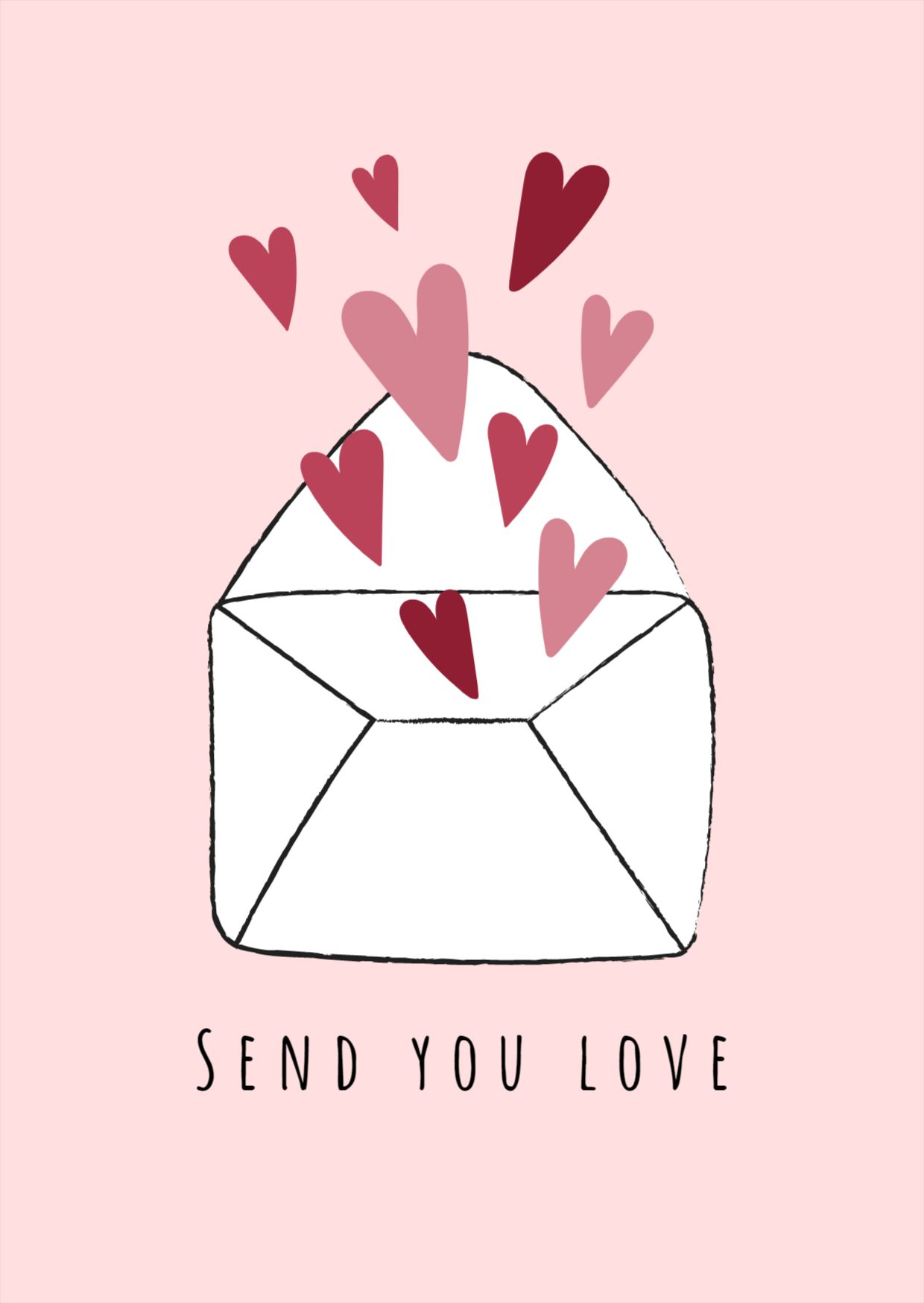 Sending Love Valentines Day Greeting Card Post Template