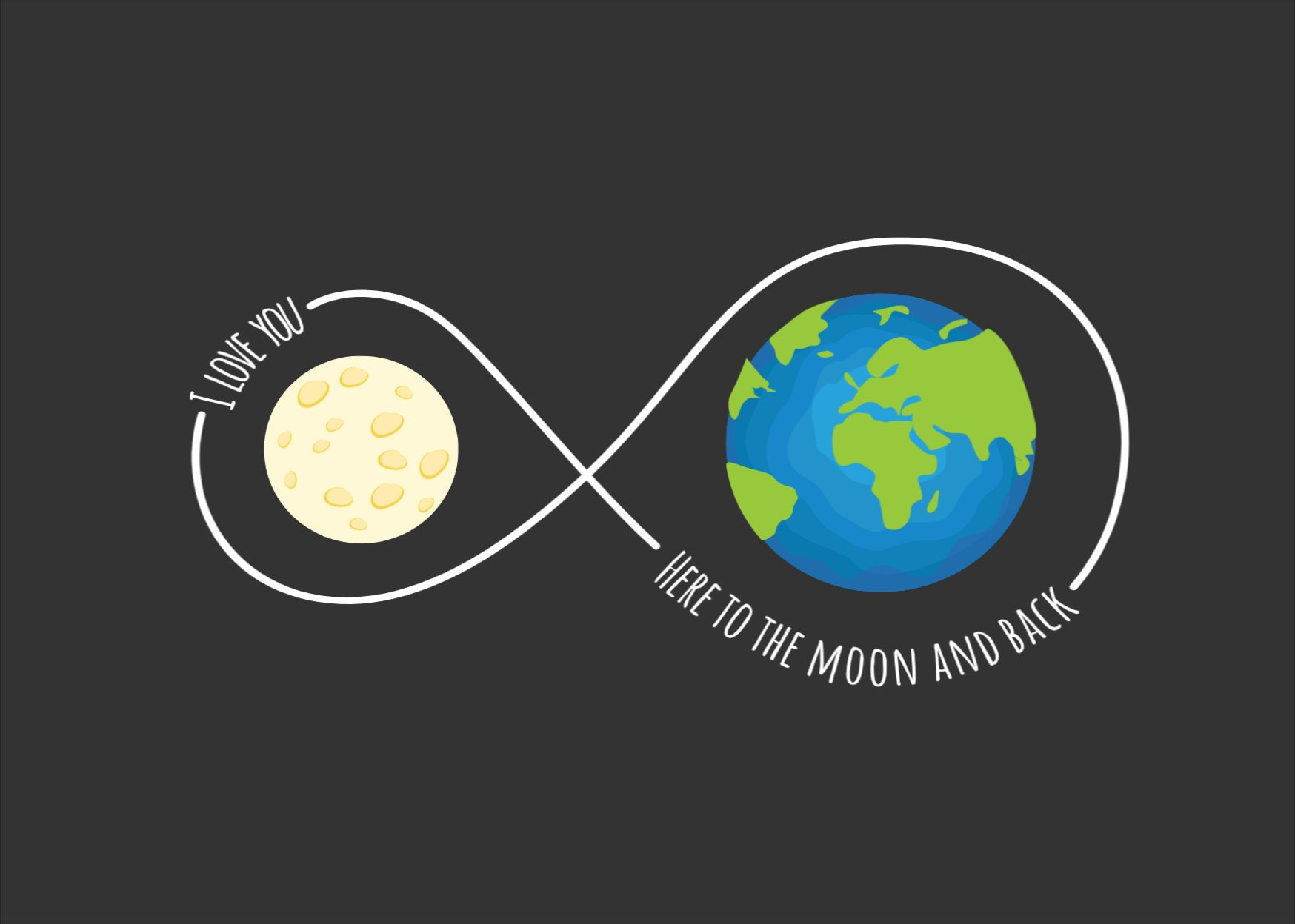 From The Moon And Back Greeting Card