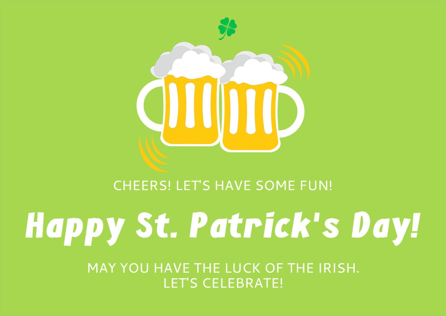 St Patricks Day Celebration Greetings Template
