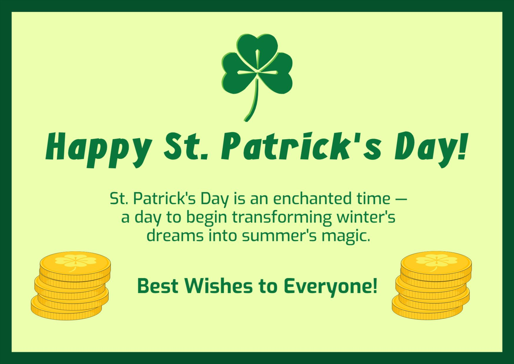 St Patricks Day Greetings Template