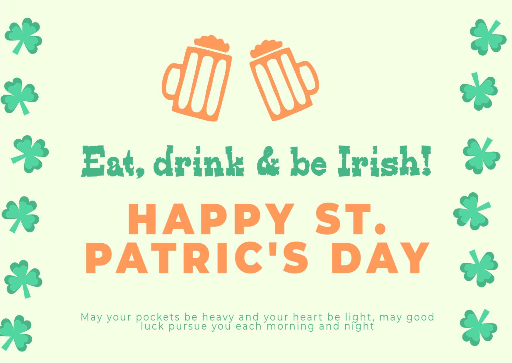 St. Patricks Day Celebration Greetings Template