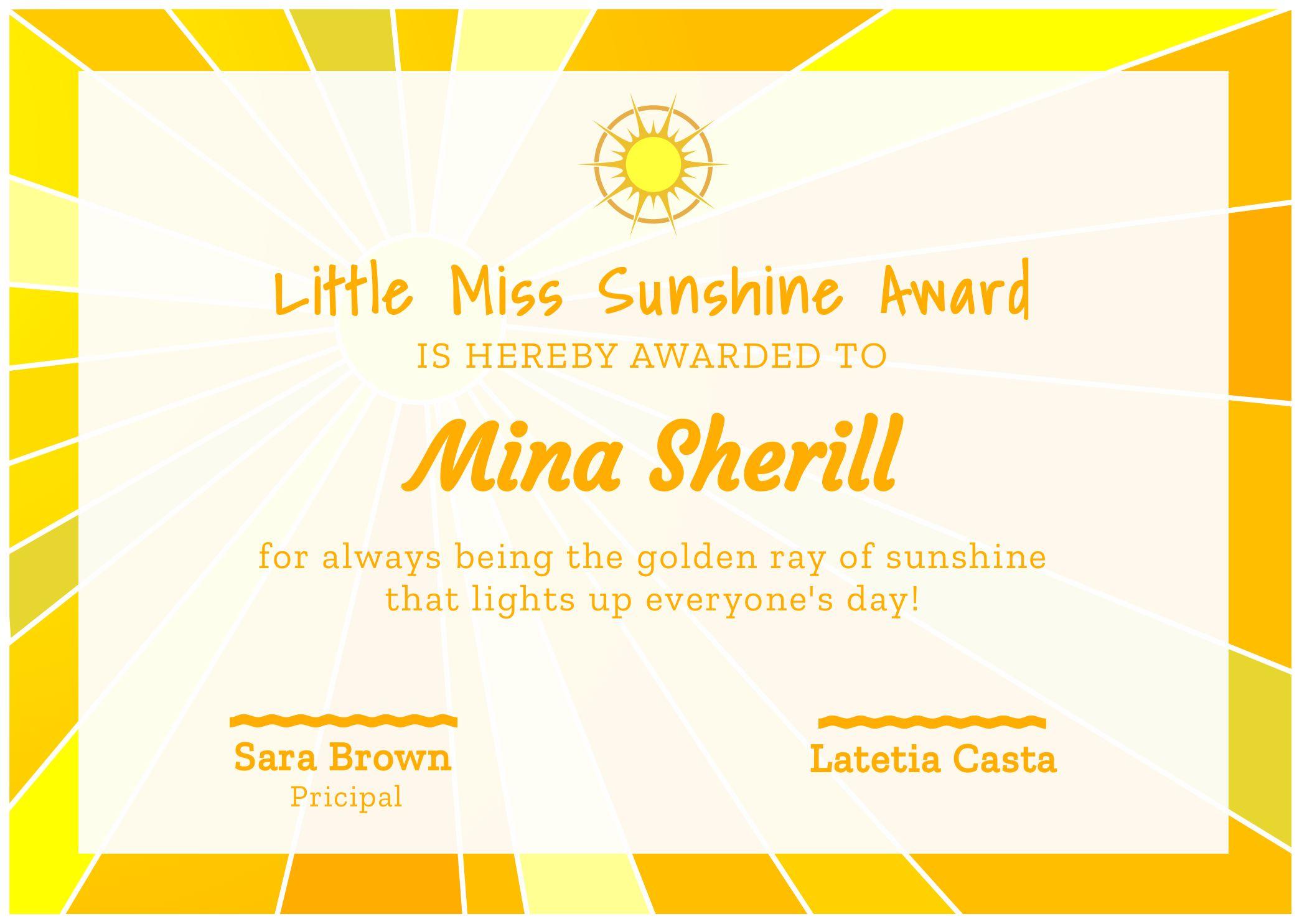 Miss Sunshine Certificate Template