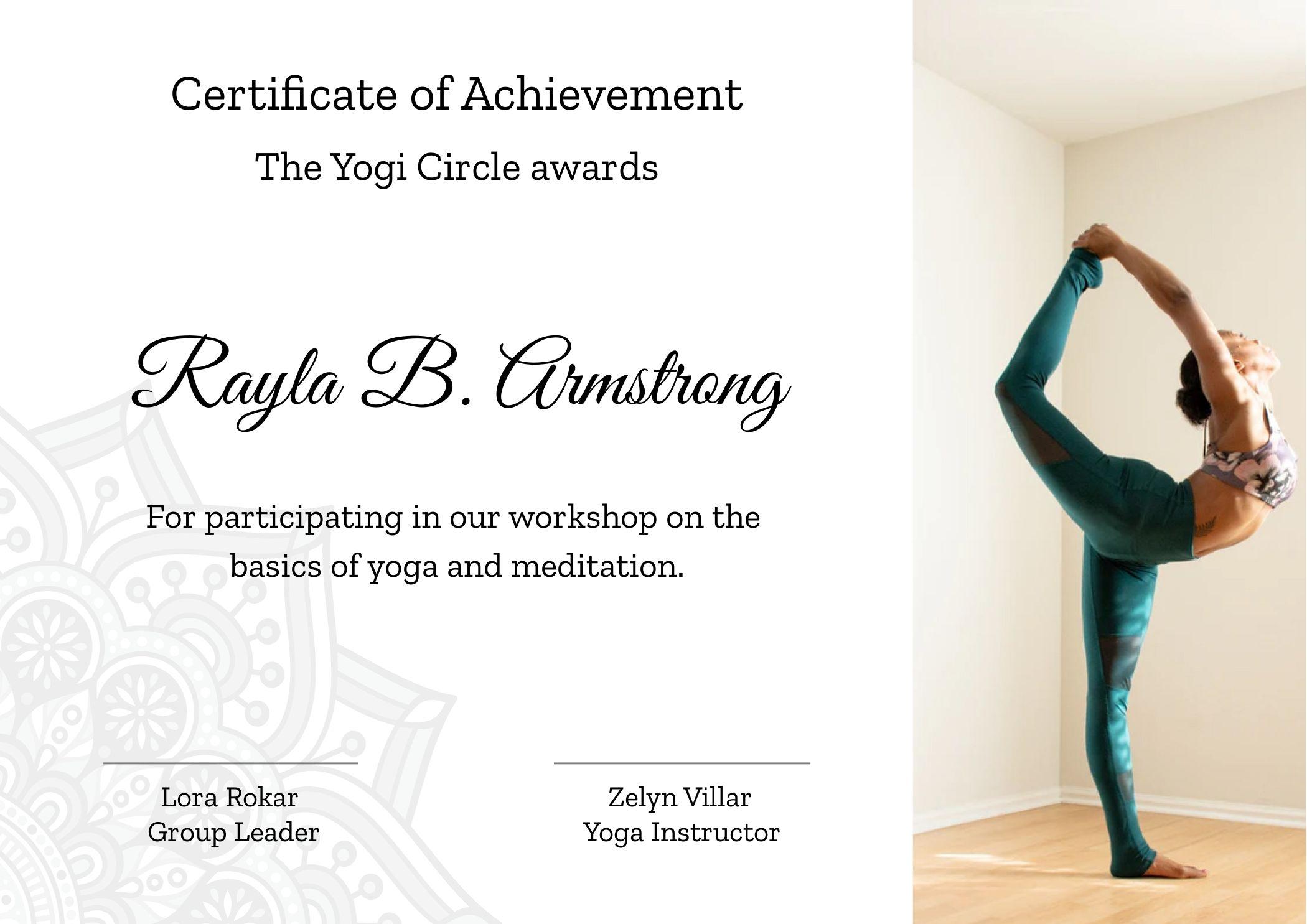 Yoga School Certificate Of Achievement
