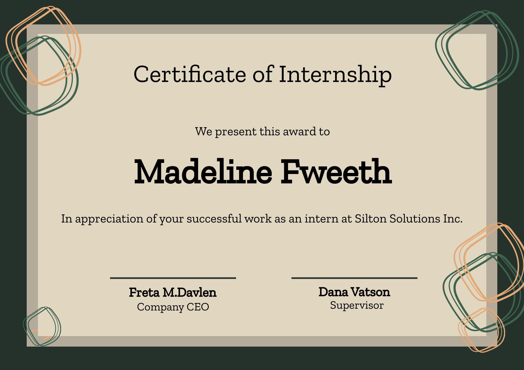 Certificate Of Internship Template