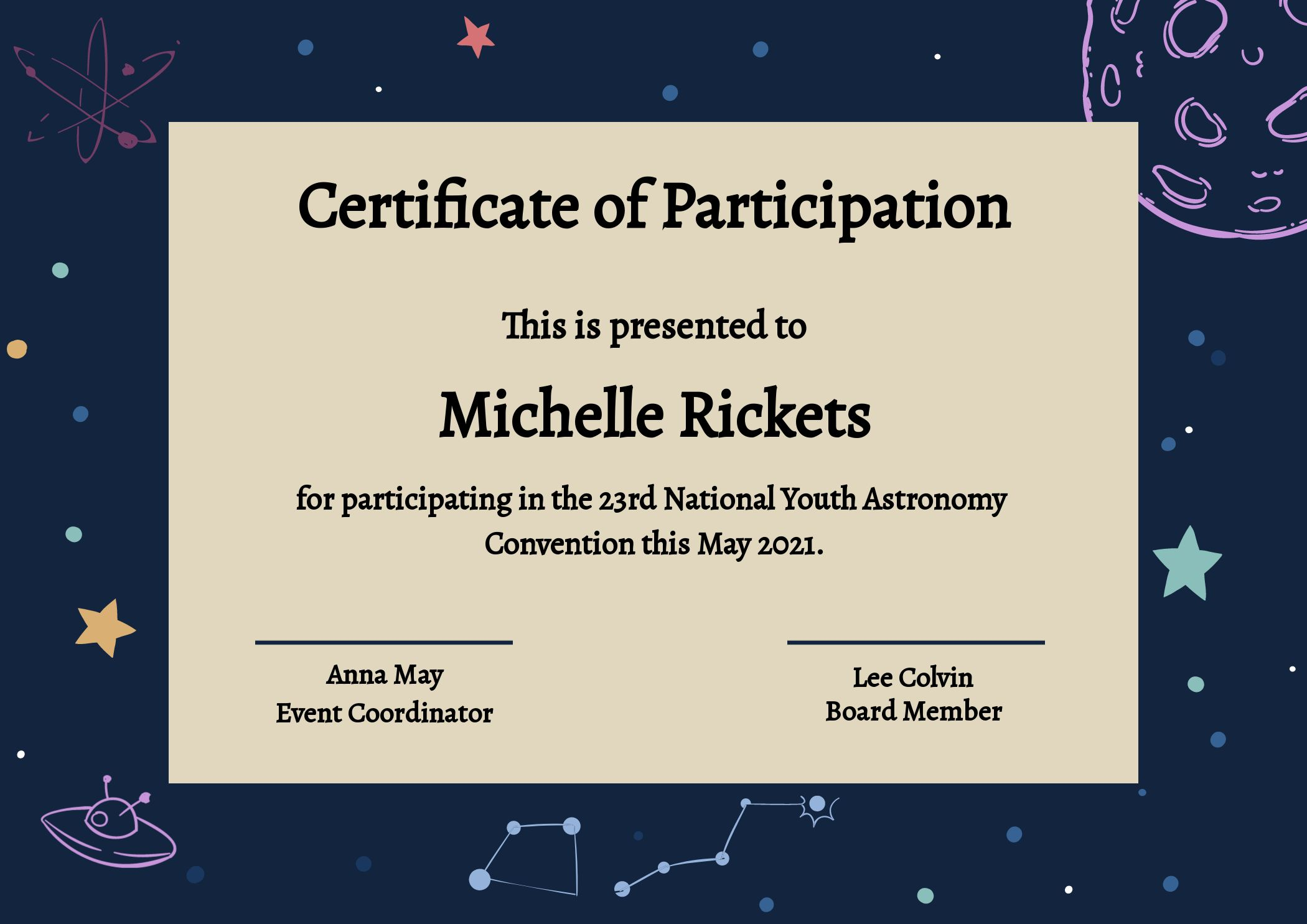 Certificate of Participation Astronomy Convention