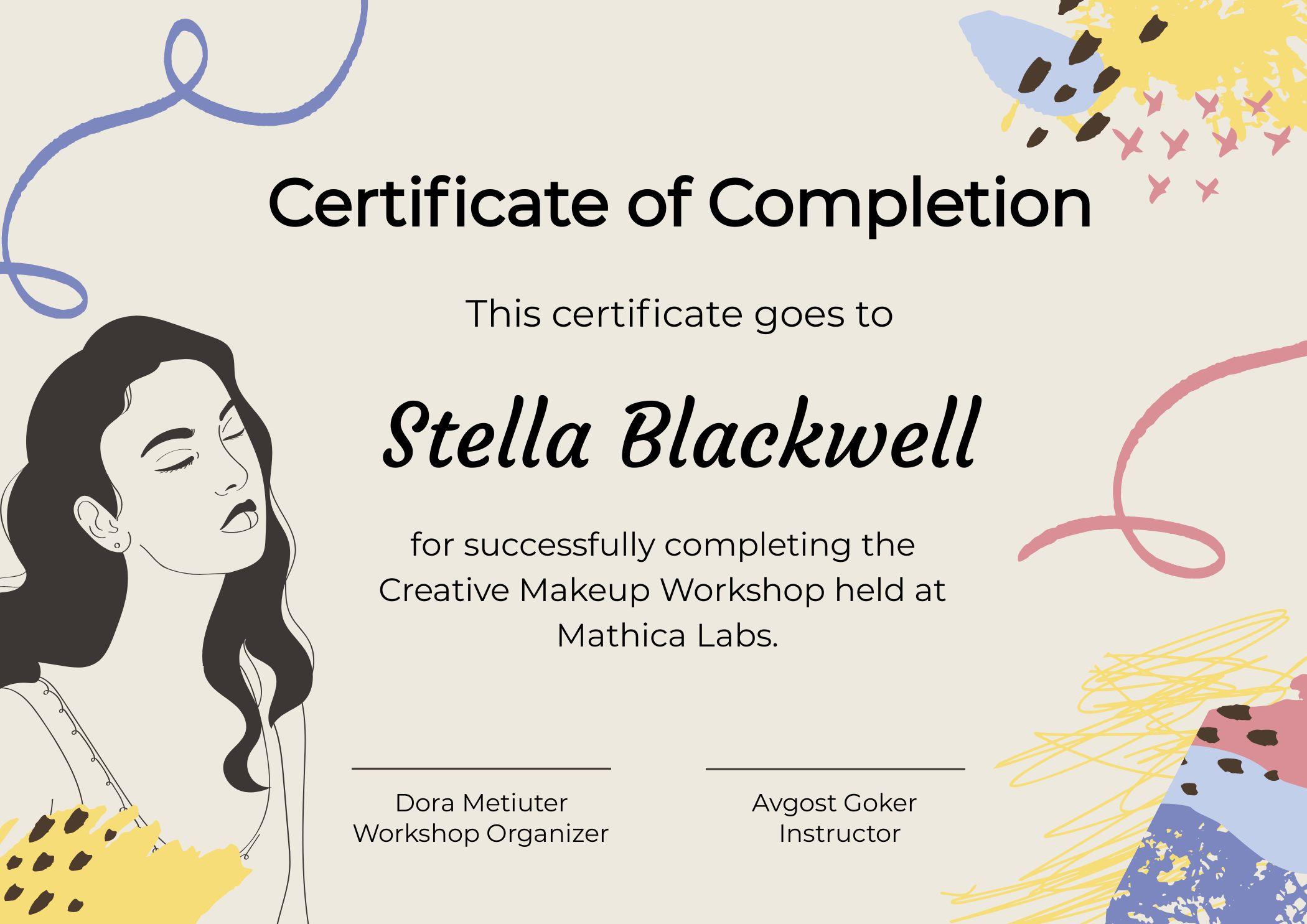 Certificate Of Completion Makeup Workshop