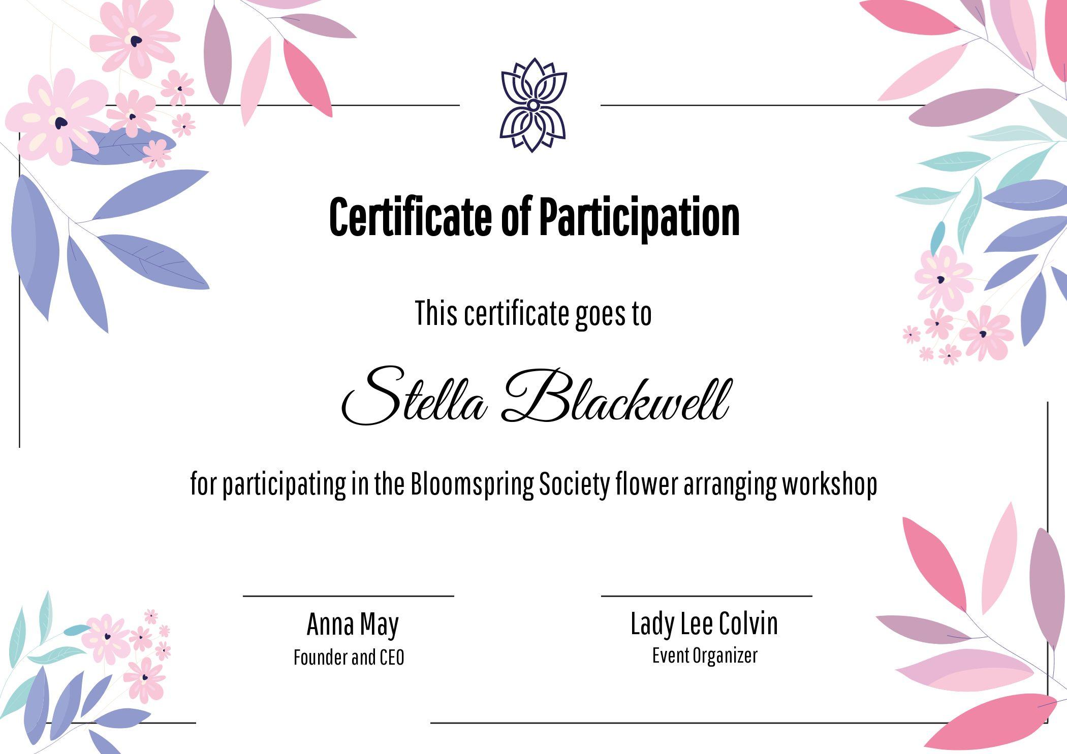 Certificate Of Participation Flower Arranging Workshop