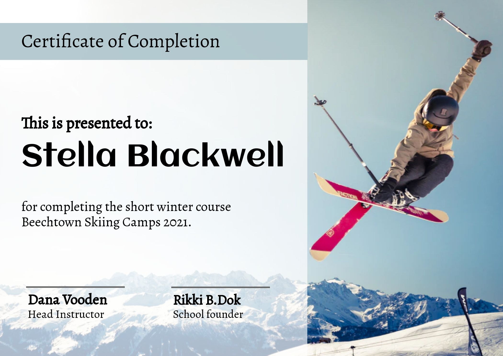Certificate Of Completion Winter Course Skiing