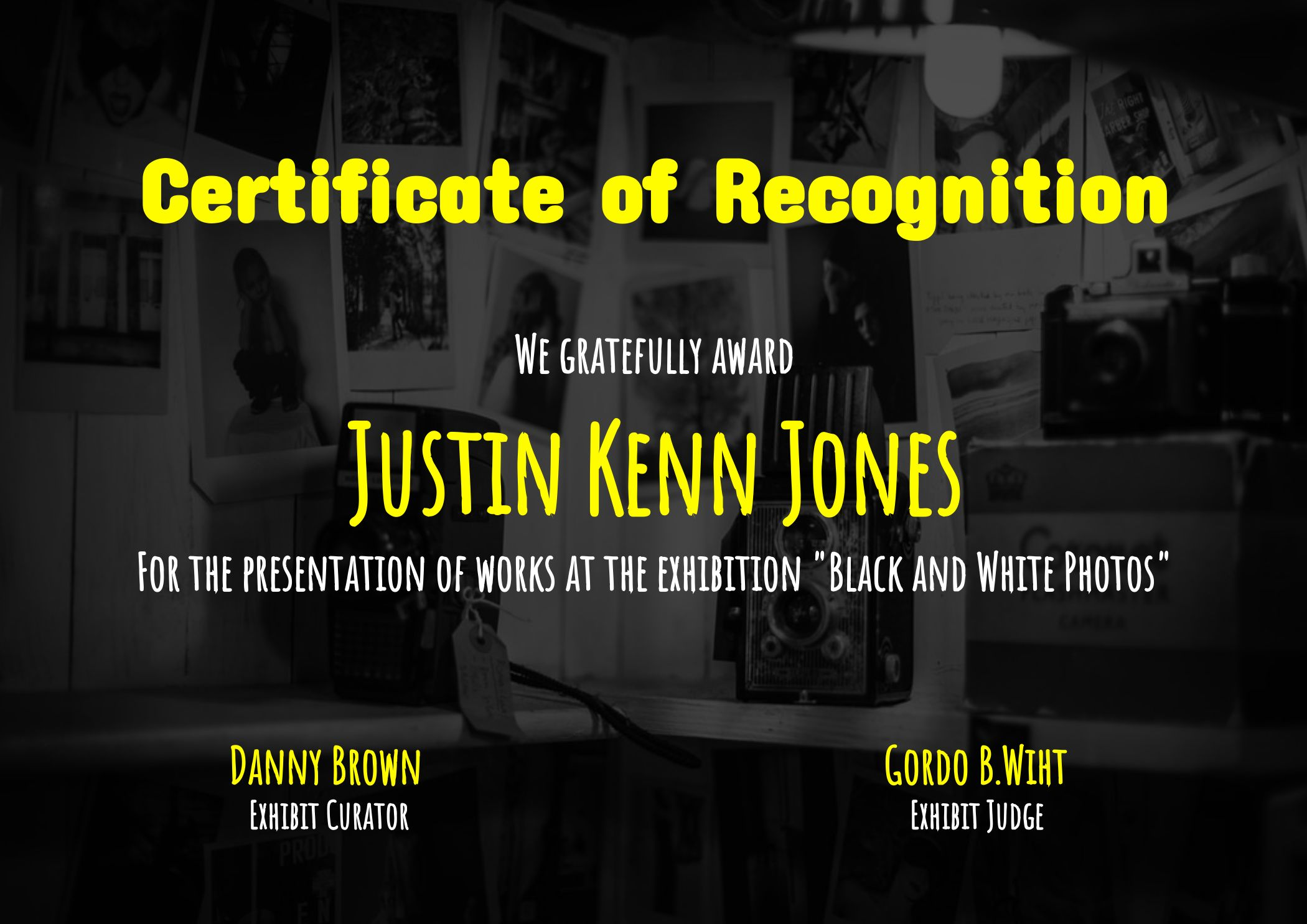 Certificate of Recognition Photo Exhibition