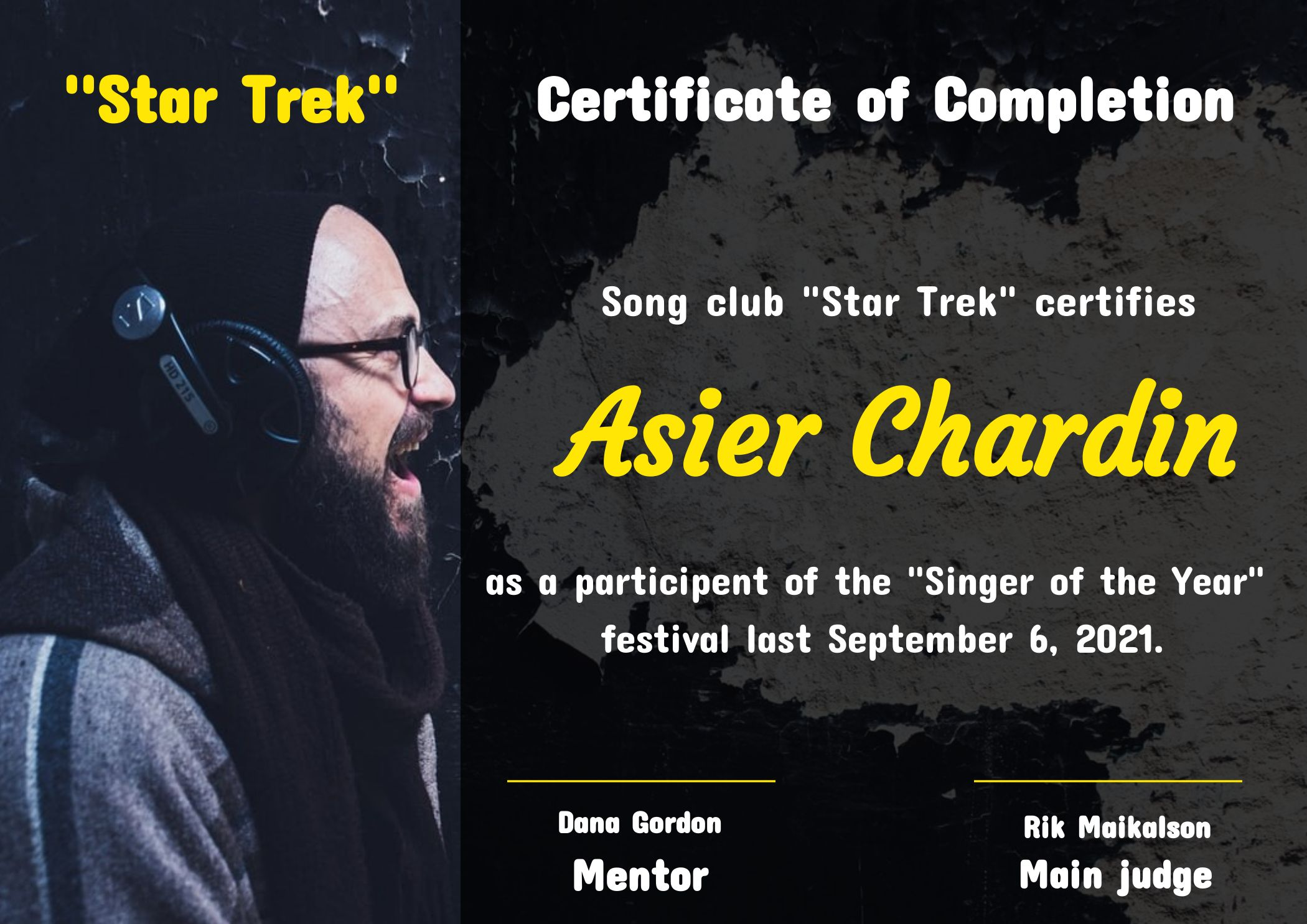 Song Club Certificate Of Completion