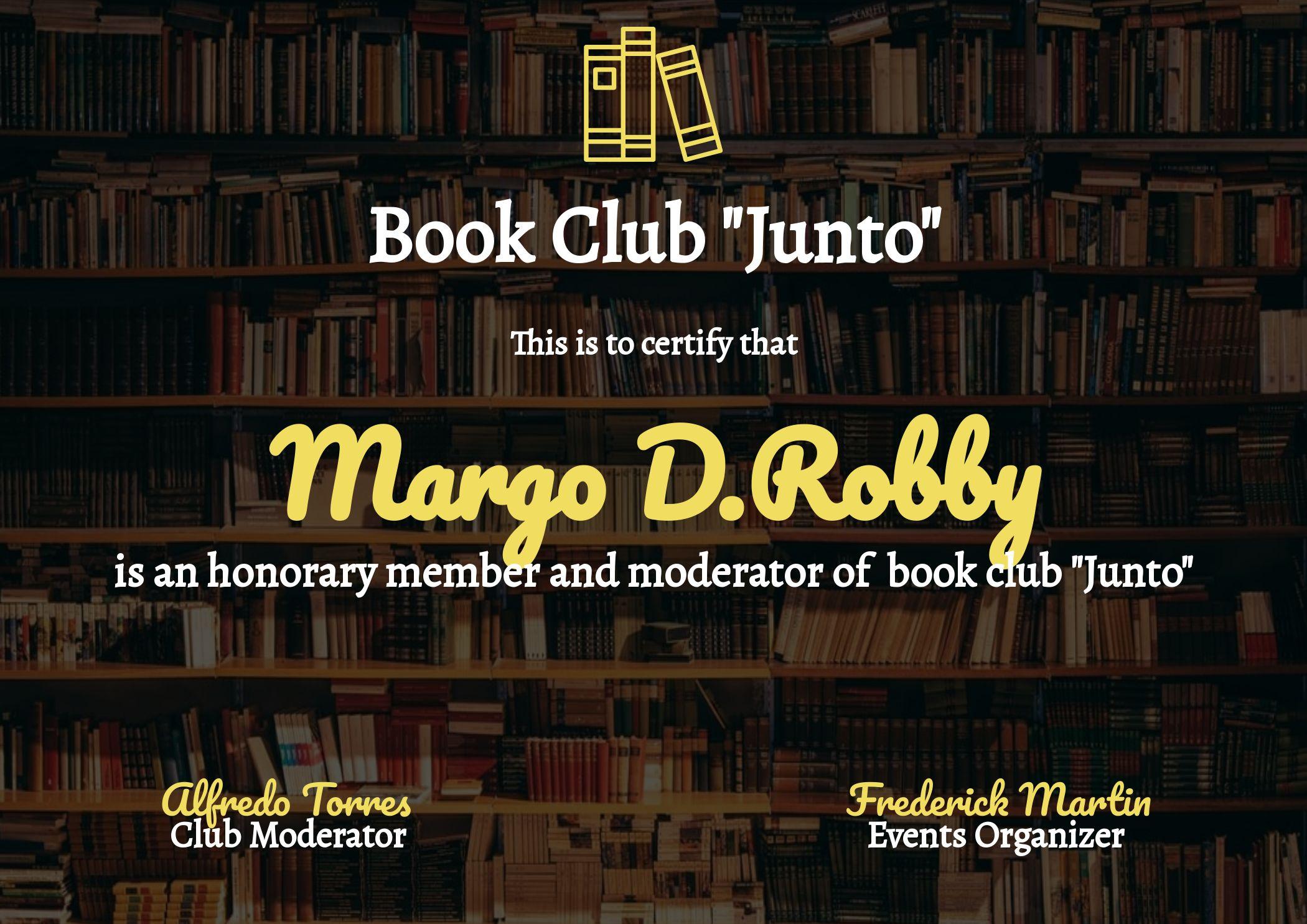Certificate Of Membership Book Club