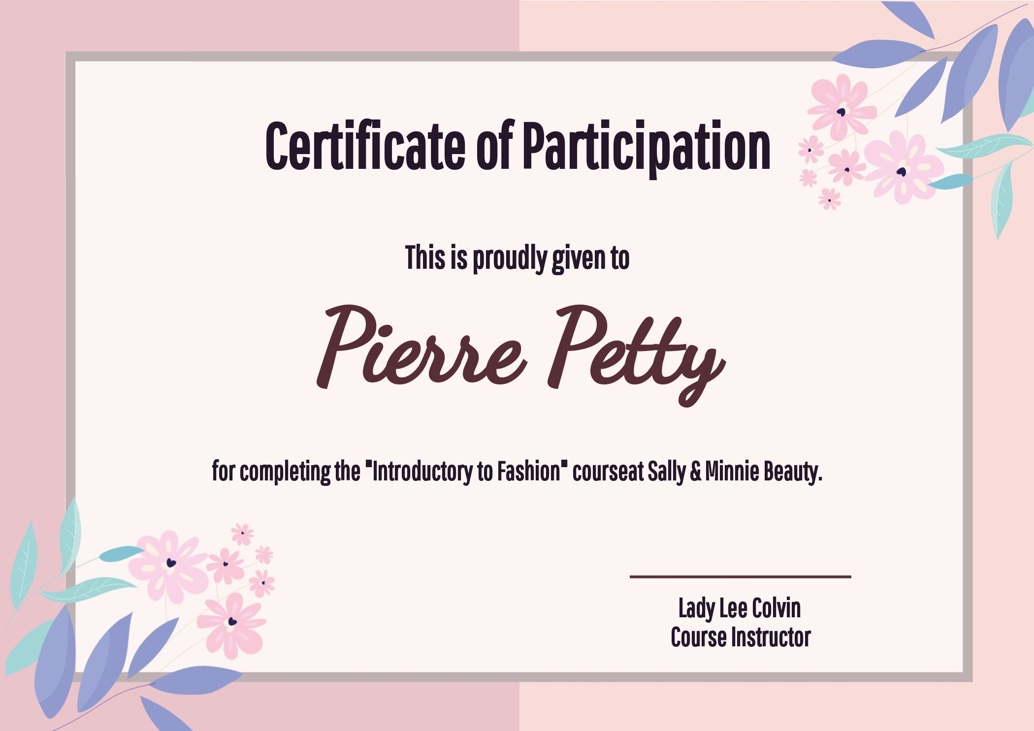 Floral Certificate of Participation Template