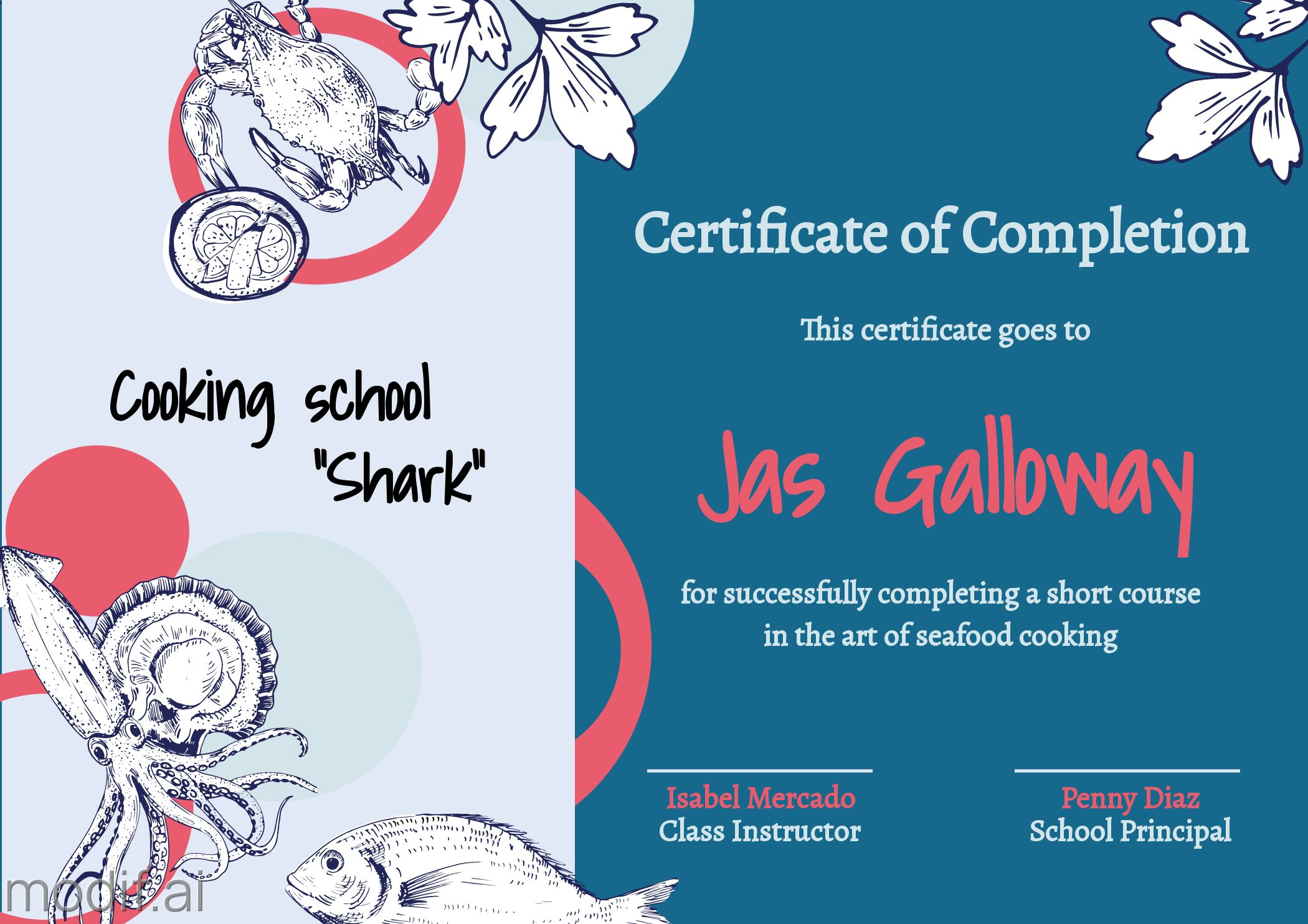 Certificate Of Completion Cooking School