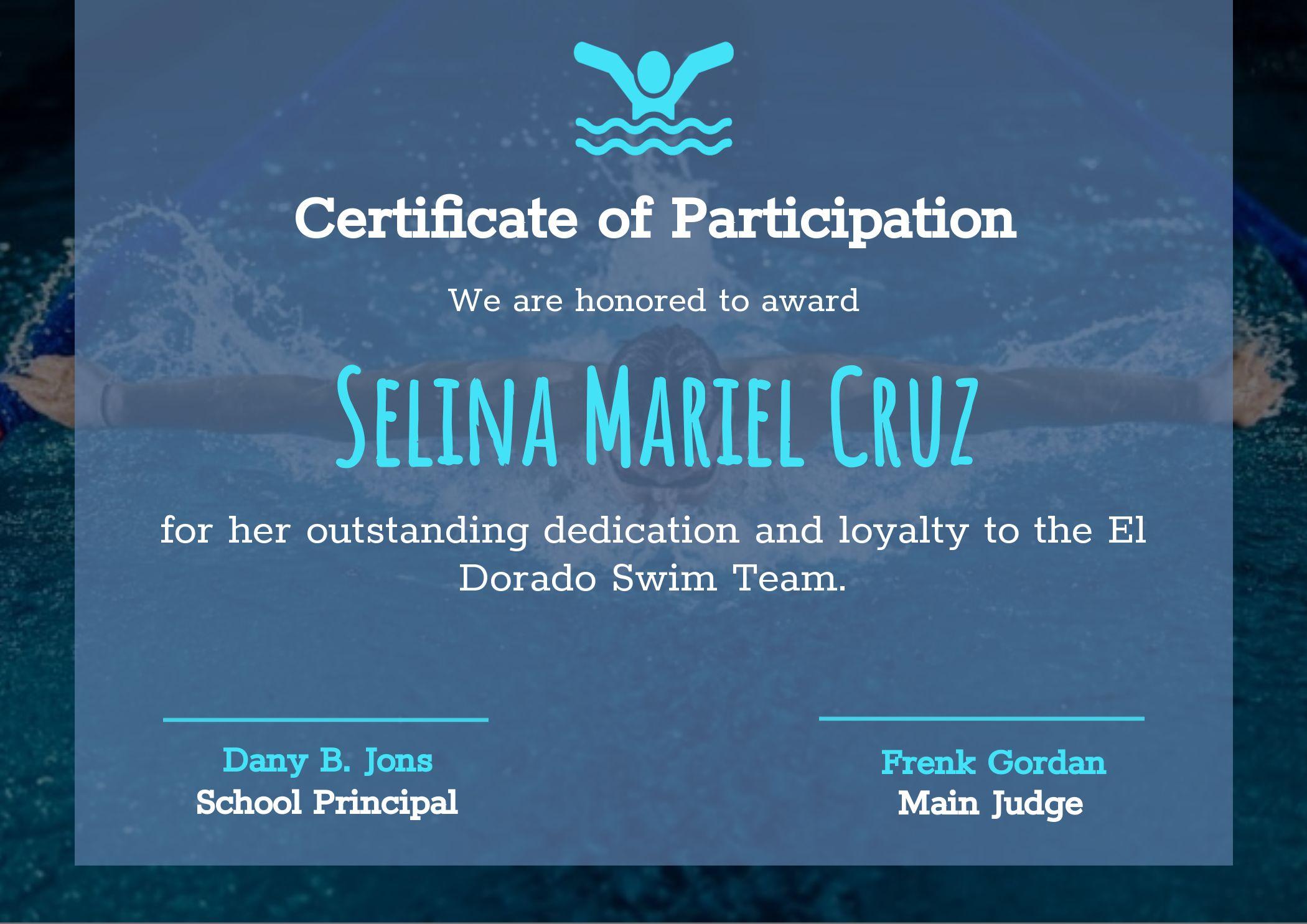 Swim Team Certificate of Participation