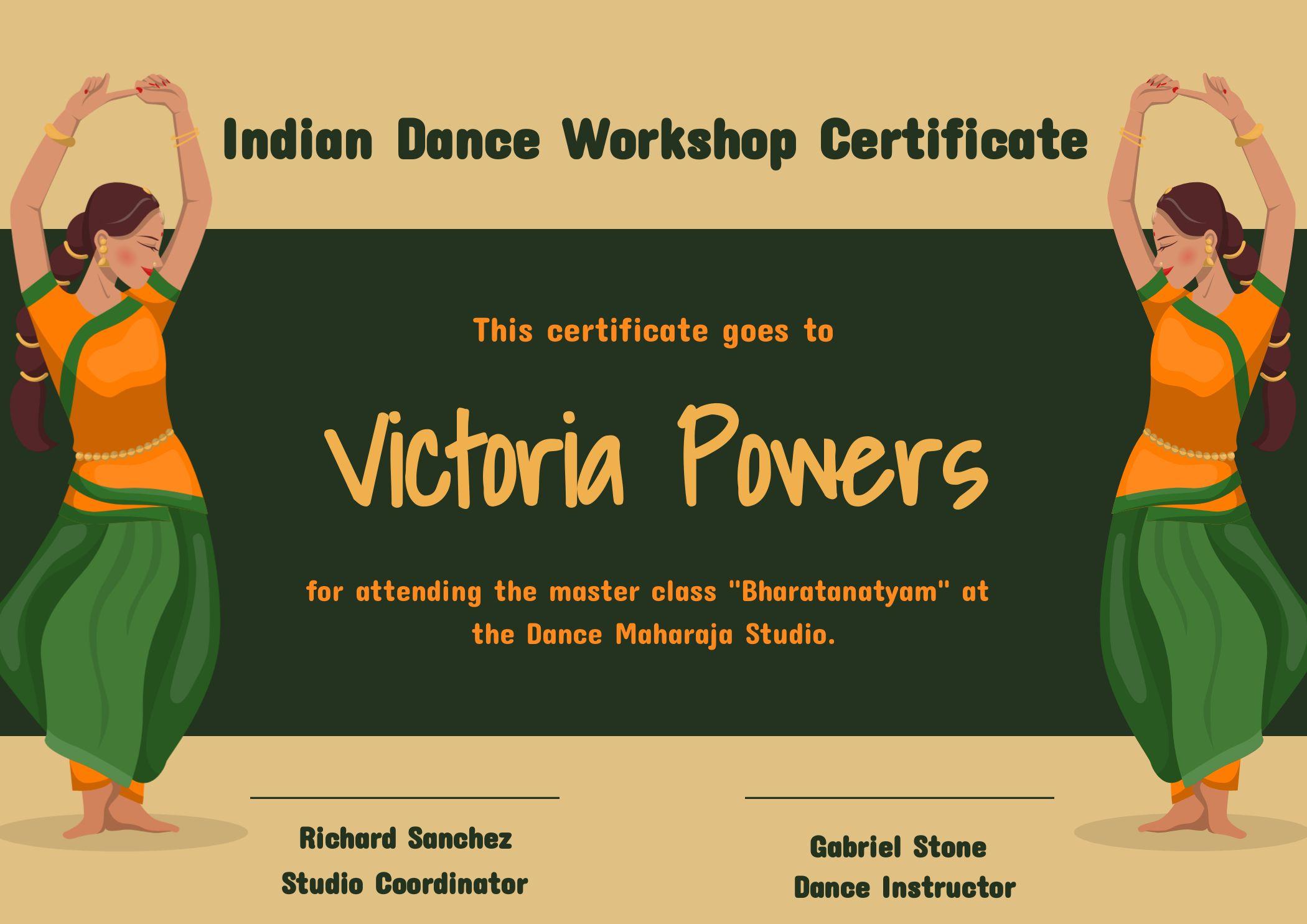 Indian Dance Workshop Certificate