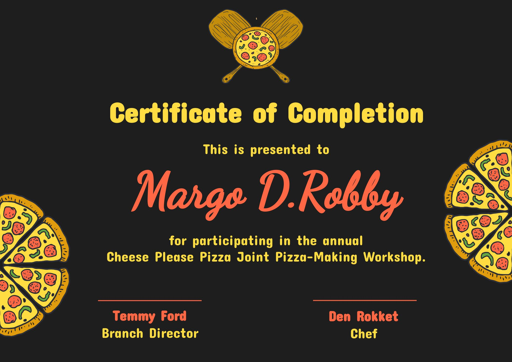 Certificate of Completion Pizza Cooker