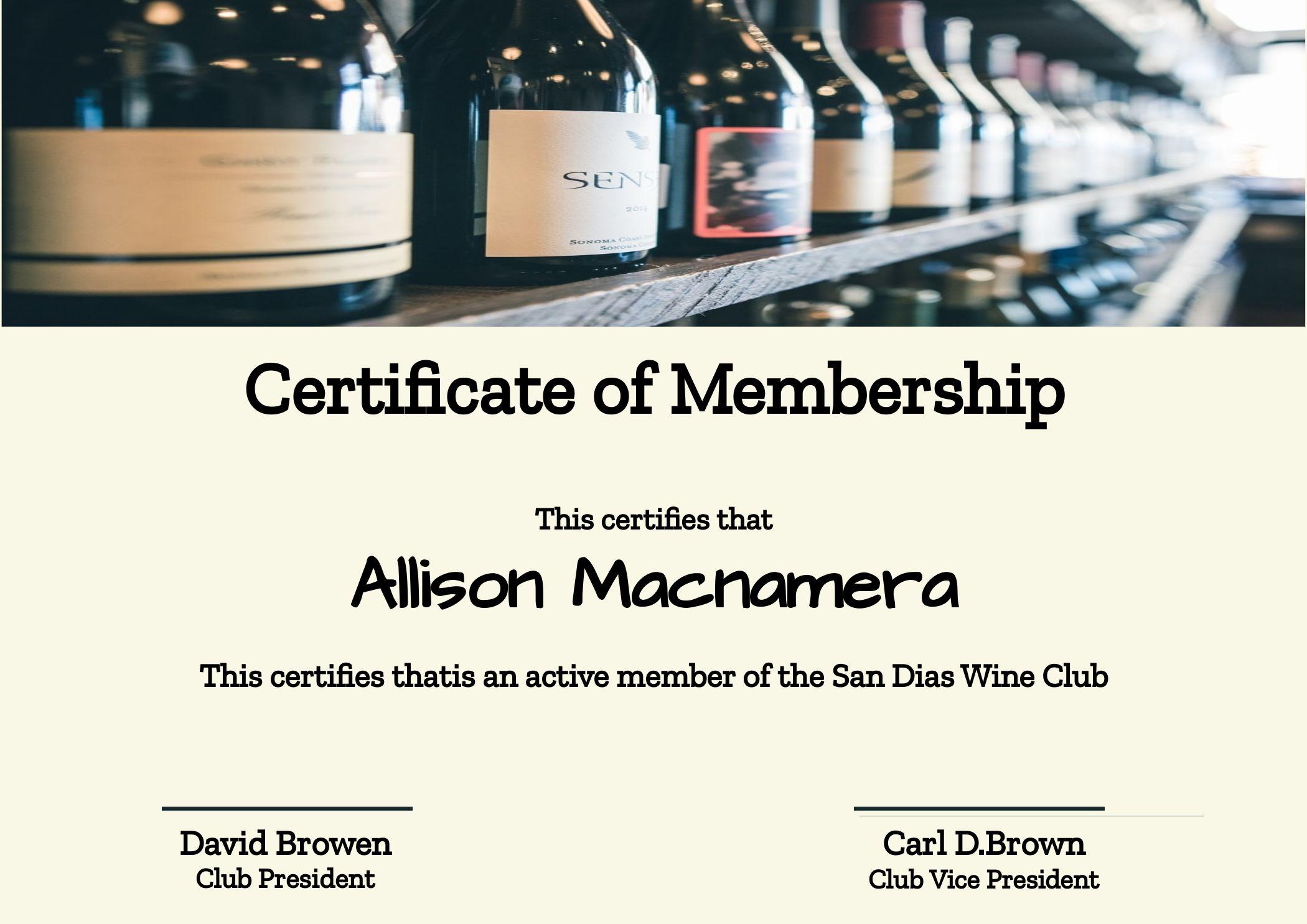 Certificate of Membership Wine Club