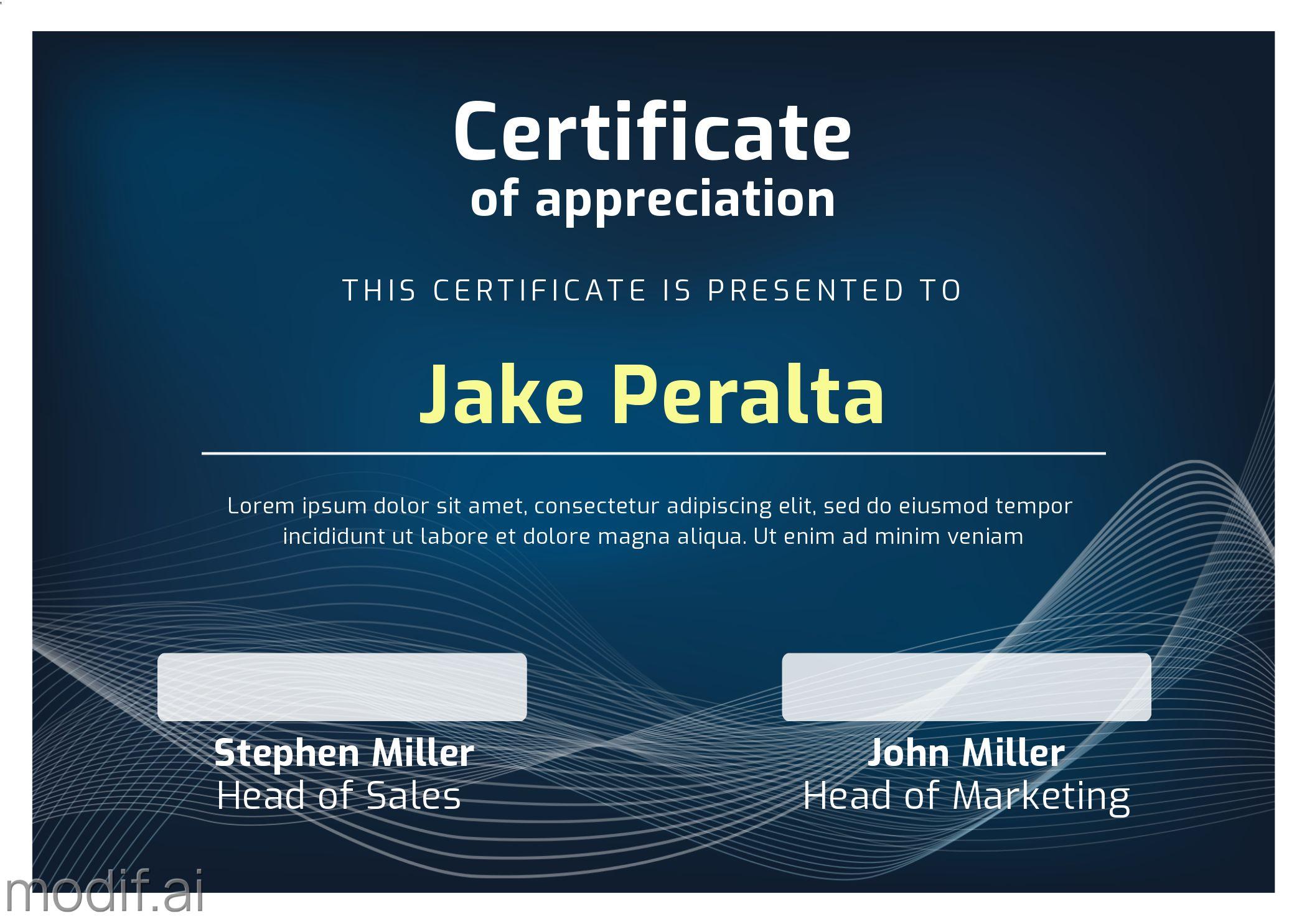 Corporate Certificate of Appreciation Template