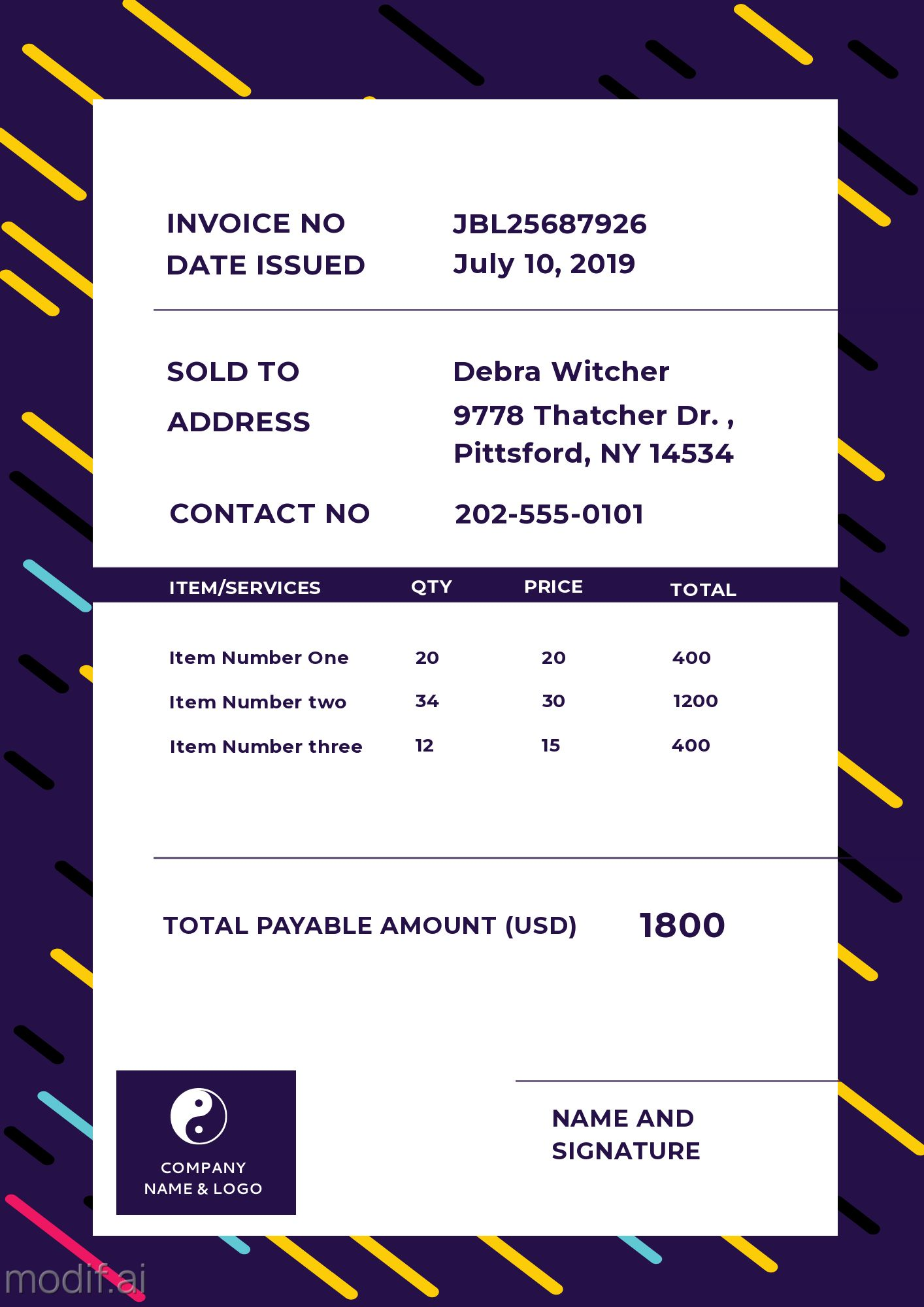 Invoice Design Template for Business Service