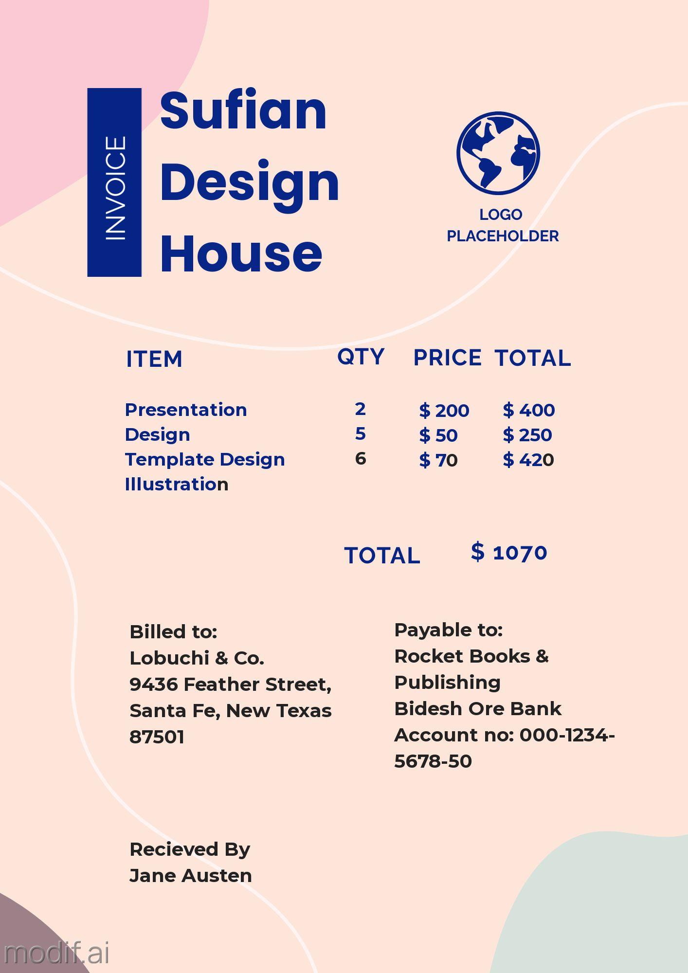 Invoice Design Template for Design Service