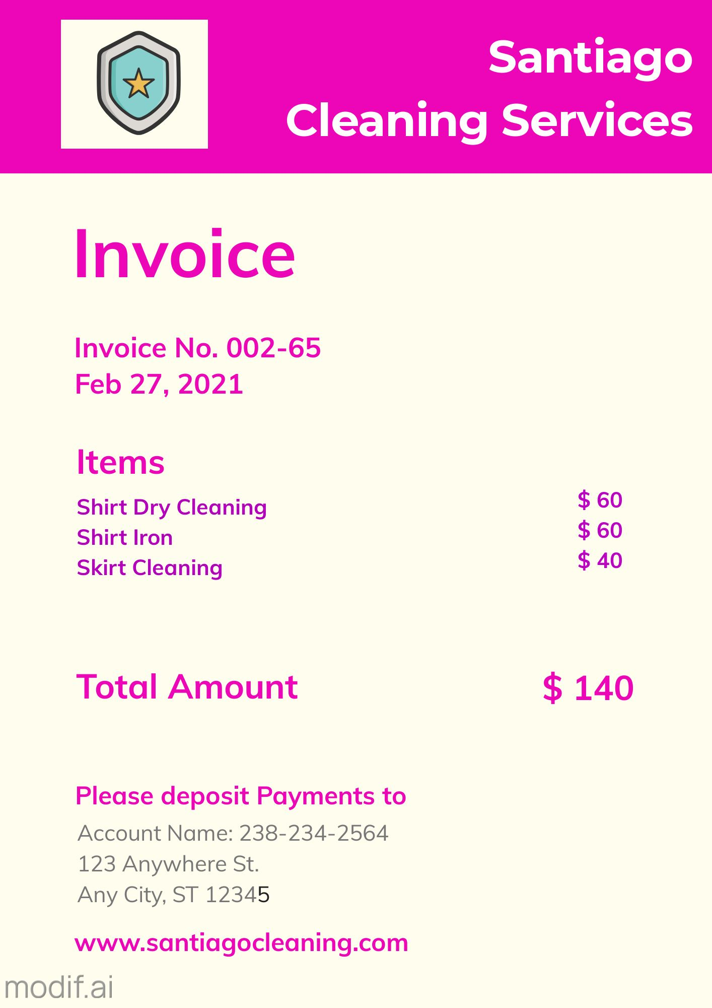 Invoice Design Template for Cleaning Service