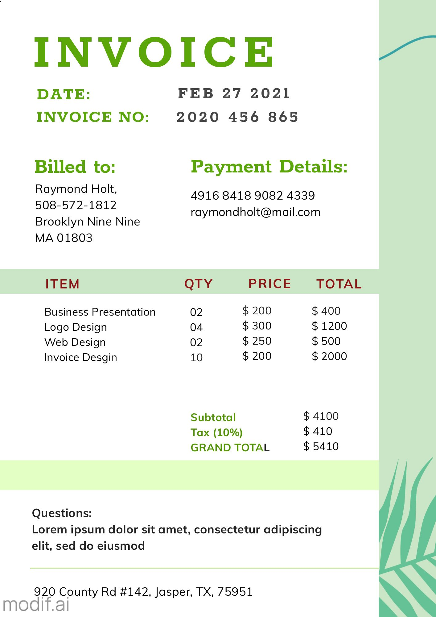 Invoice Template for Business Service
