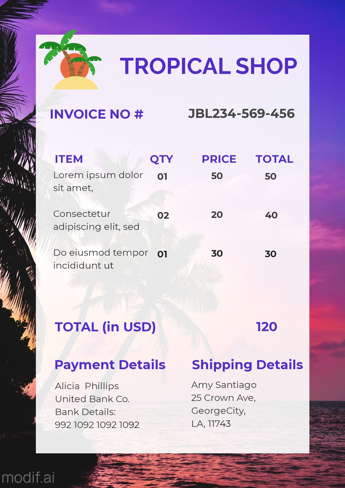 Invoice Template for Tropical Business Service