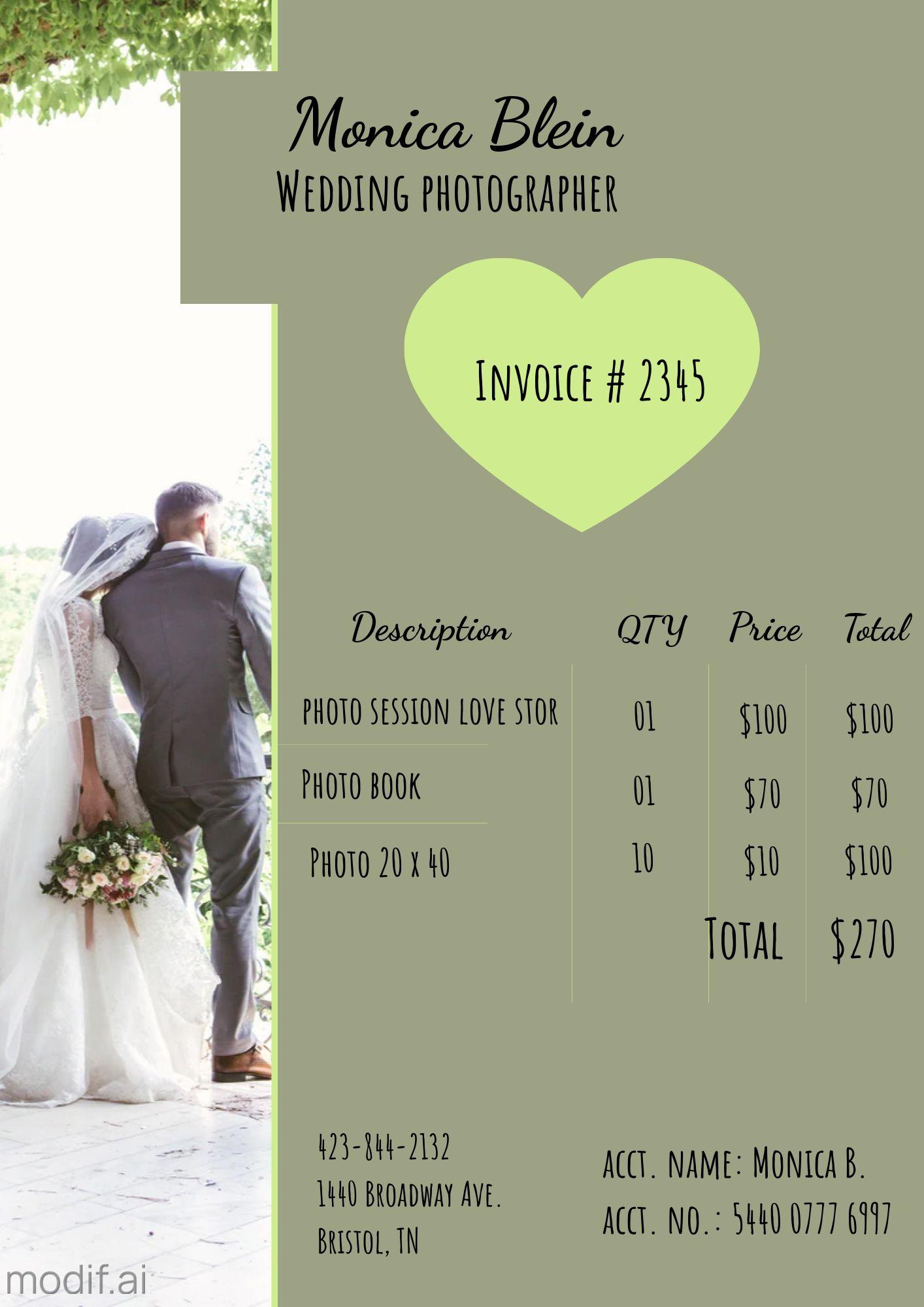 Wedding Photographer Invoice Template