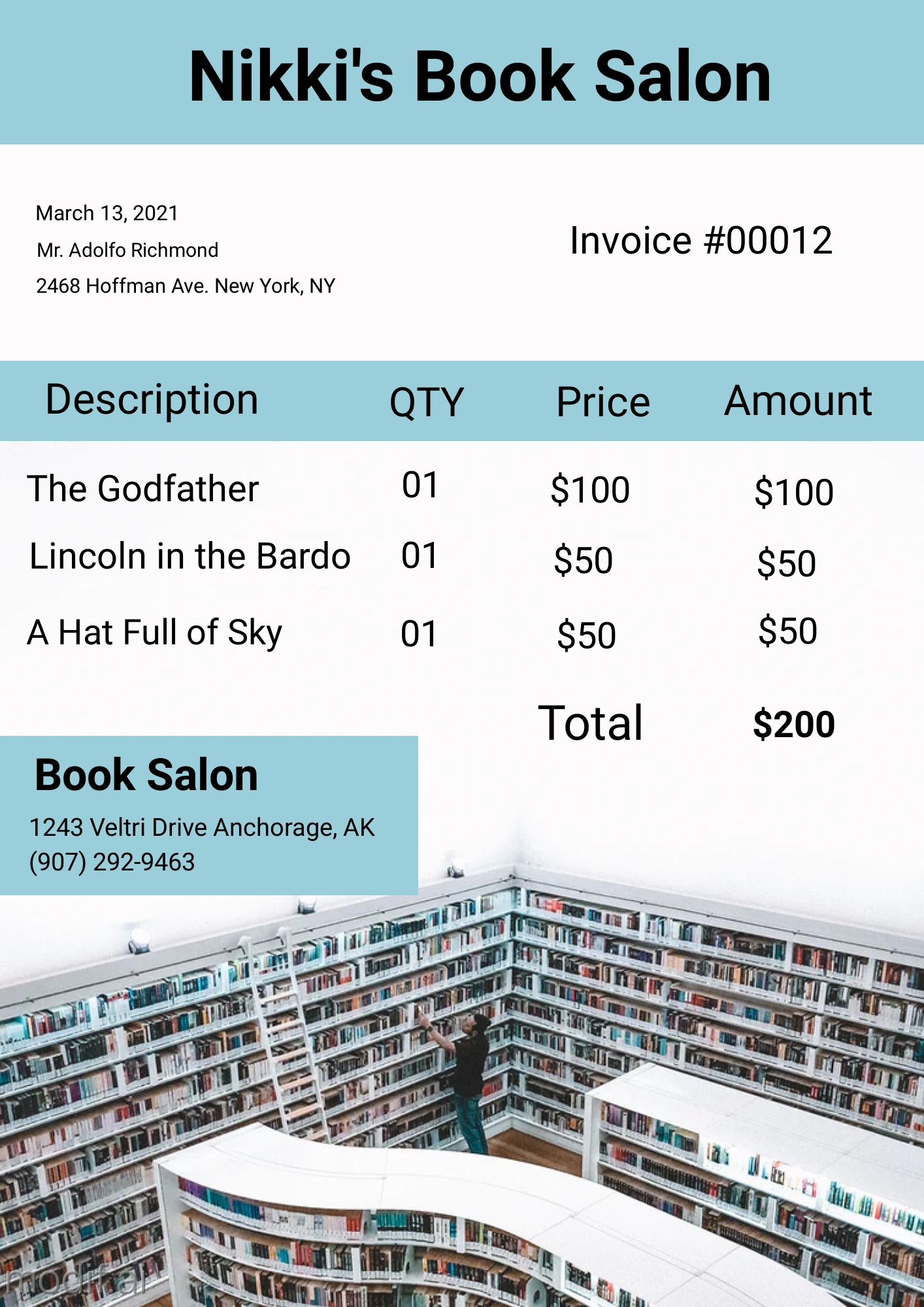 Book Salon Invoice Design Template