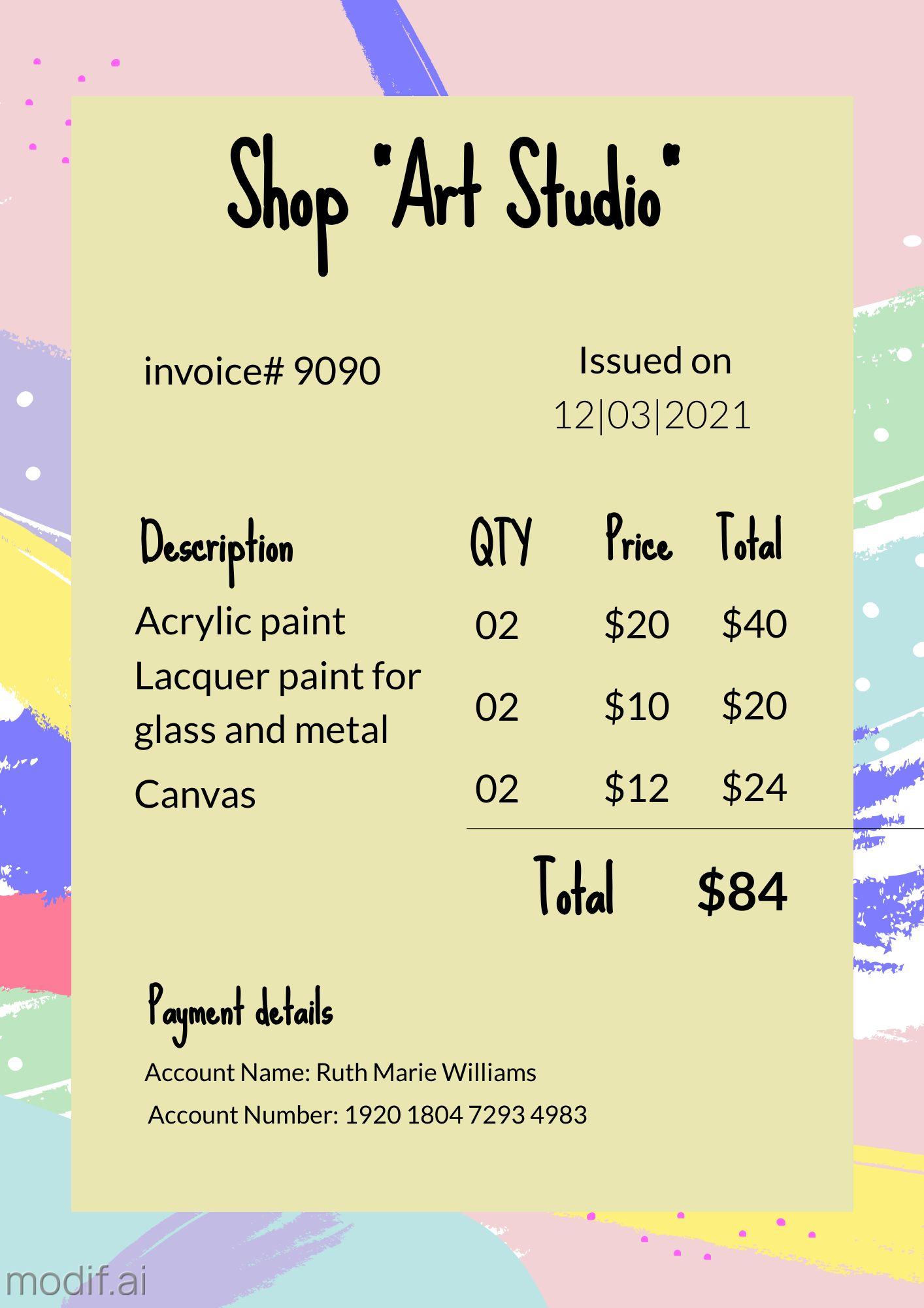 Shop Art Studio Invoice Design Template