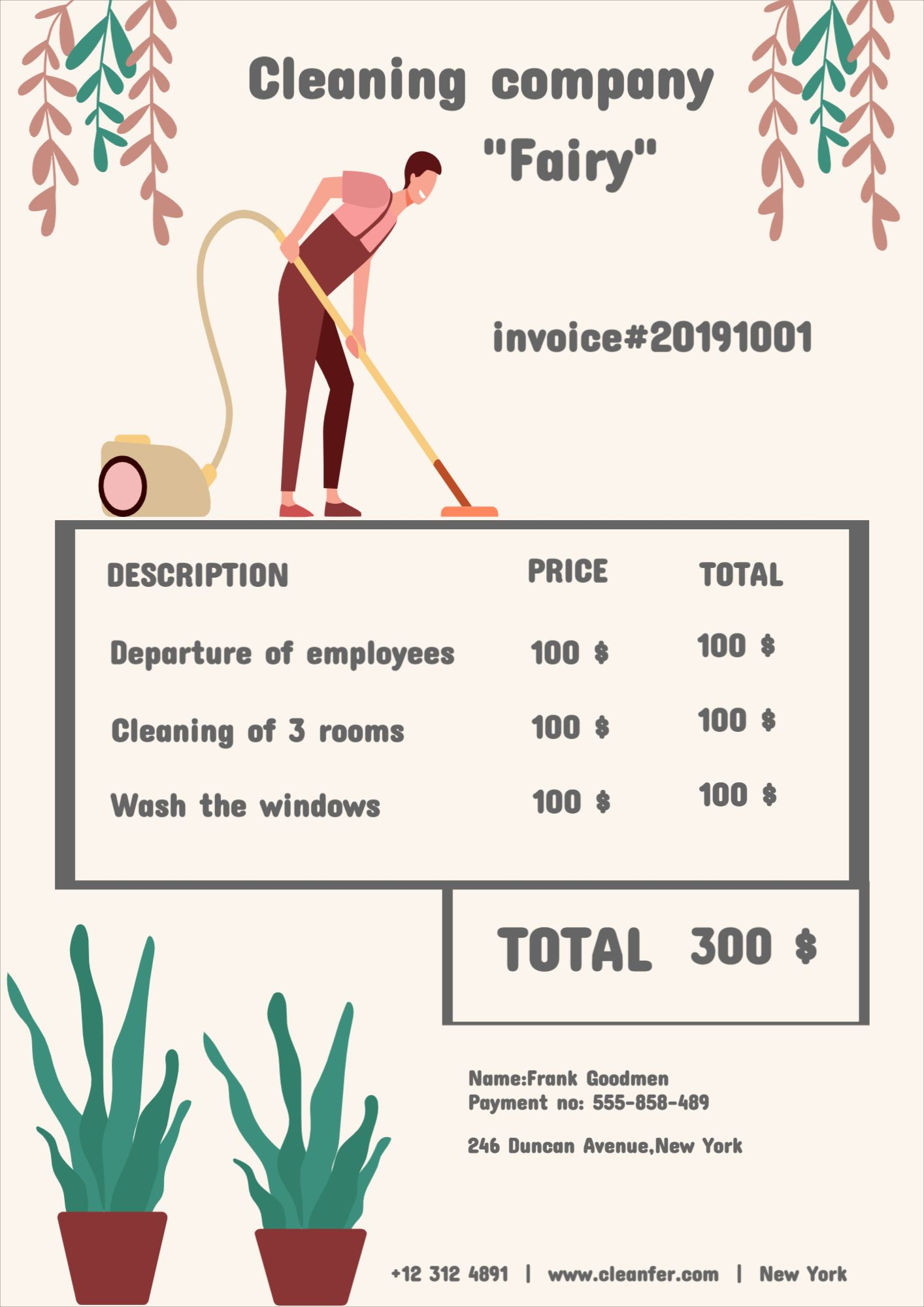 Cleaning Сompany Invoice Template