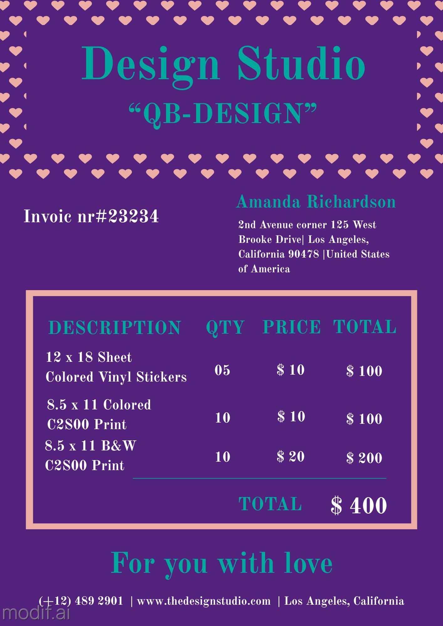 Invoice for Design Studio