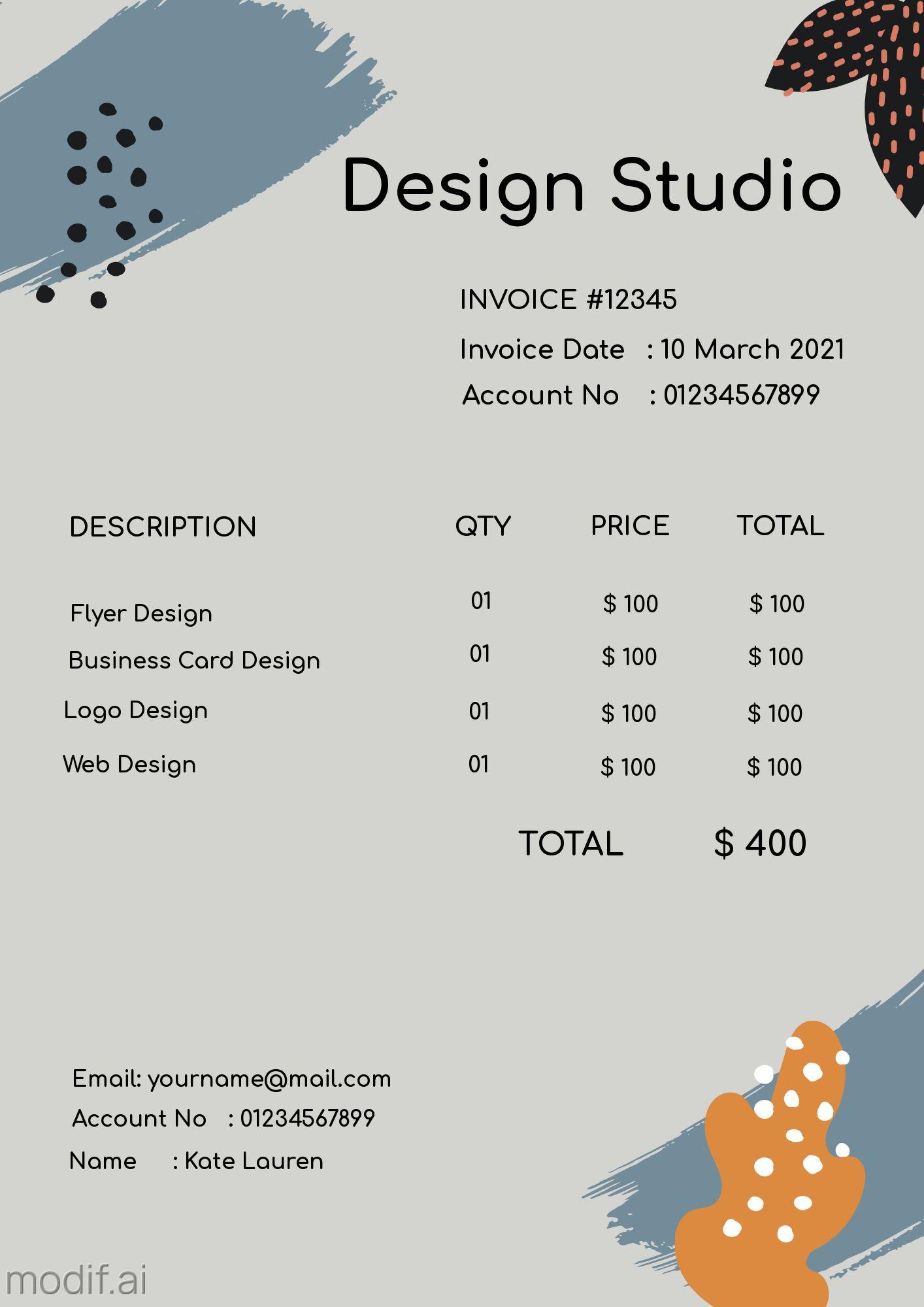 Design Studio Invoice Template