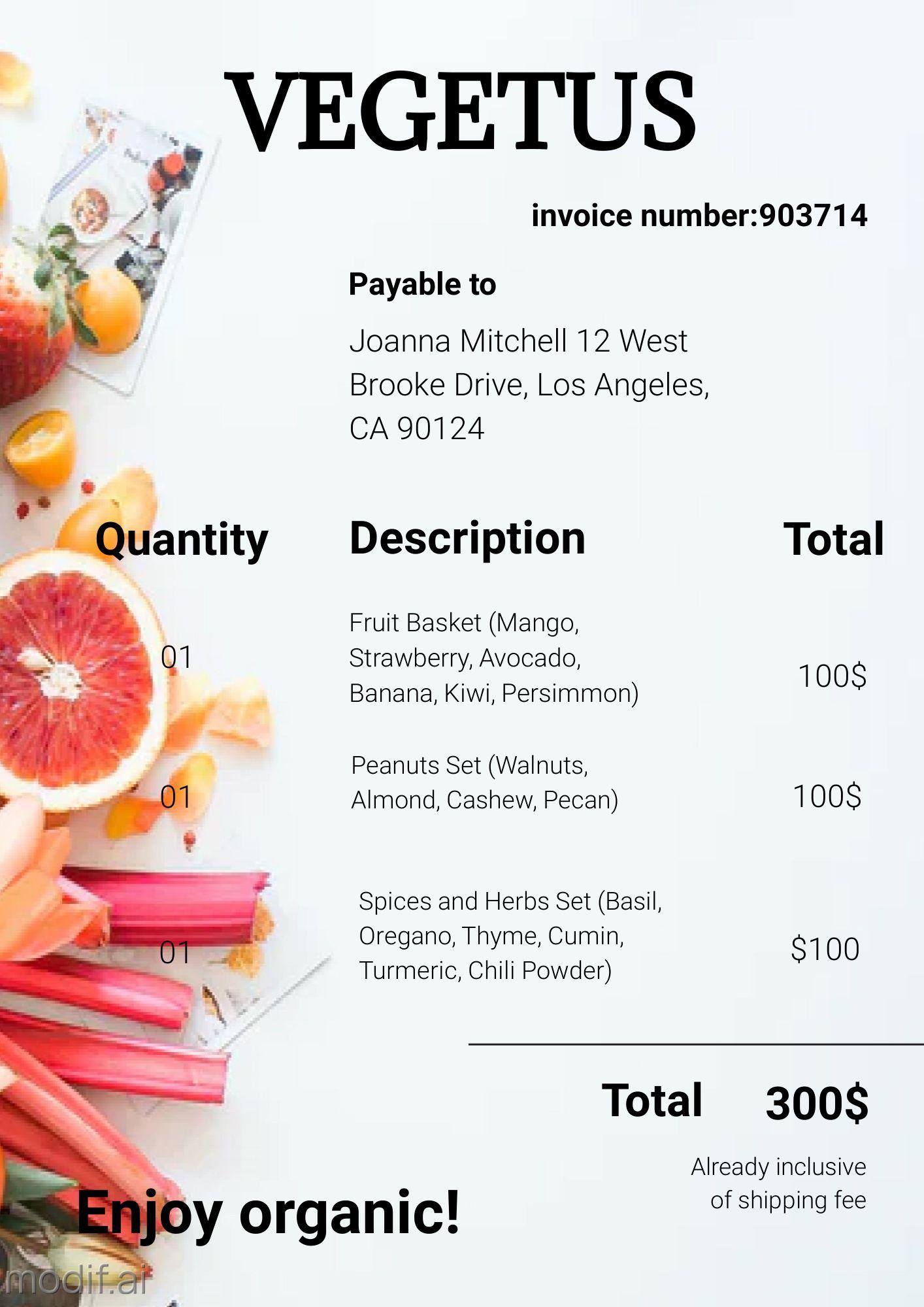 Invoice Organic Shop Template