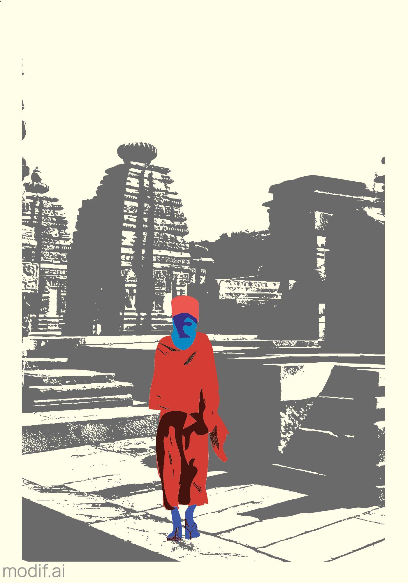 Temple Guru Themed Wall Poster Template