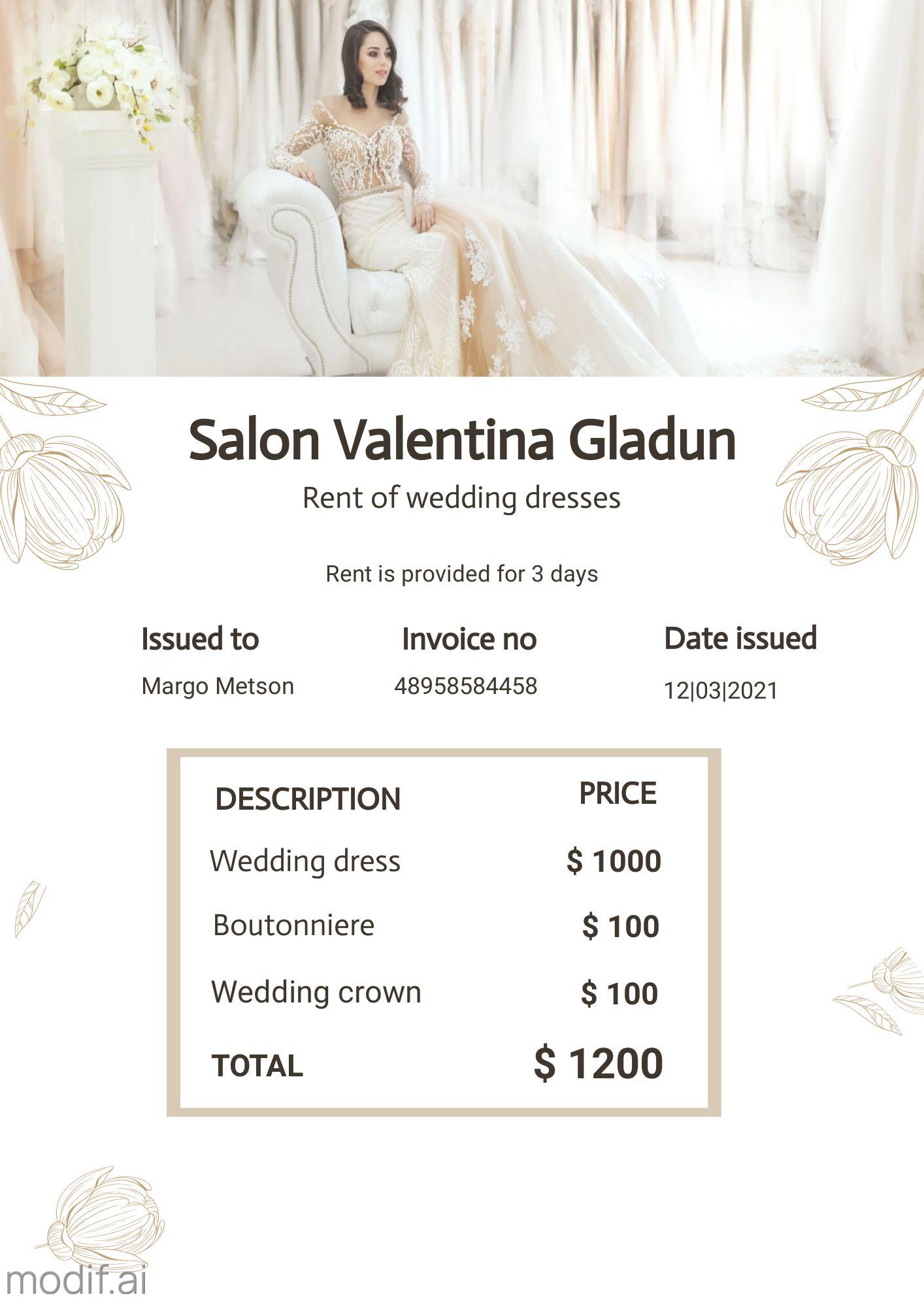 Invoice Design for Wedding Salon