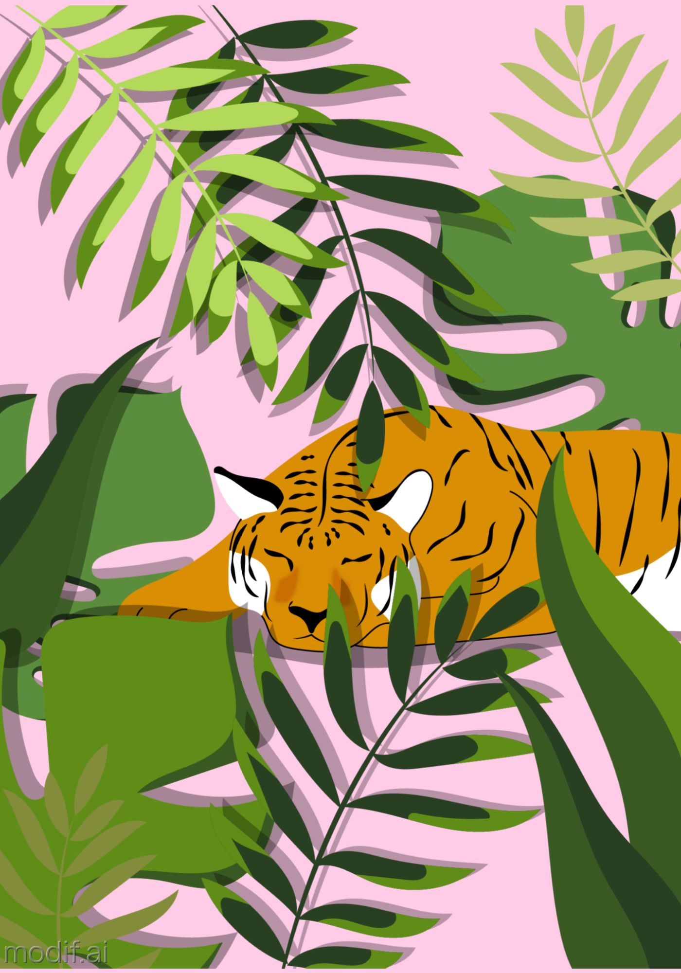 Exotic Tiger Wall Art Poster Template
