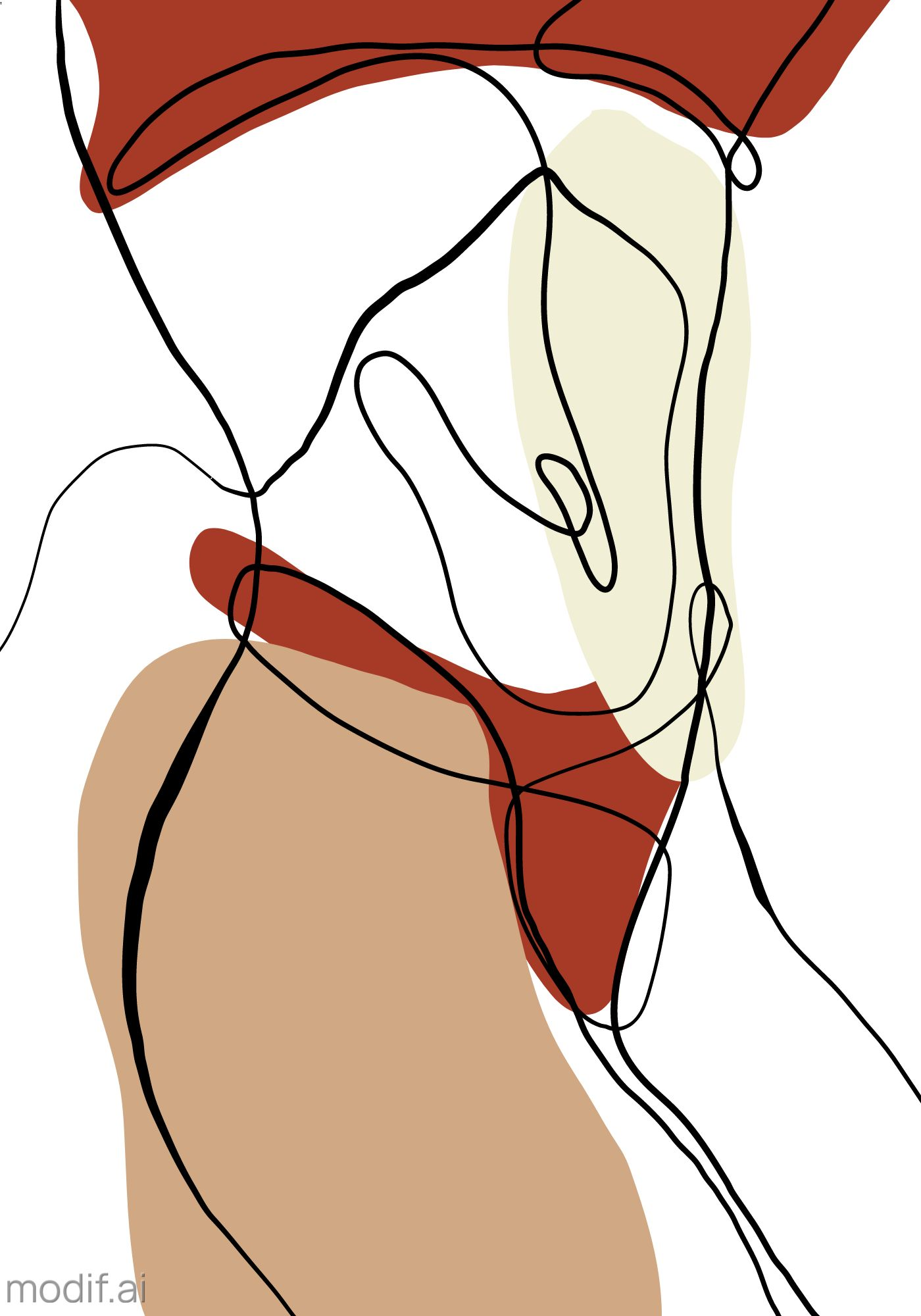Female Body One Line Art Poster Template