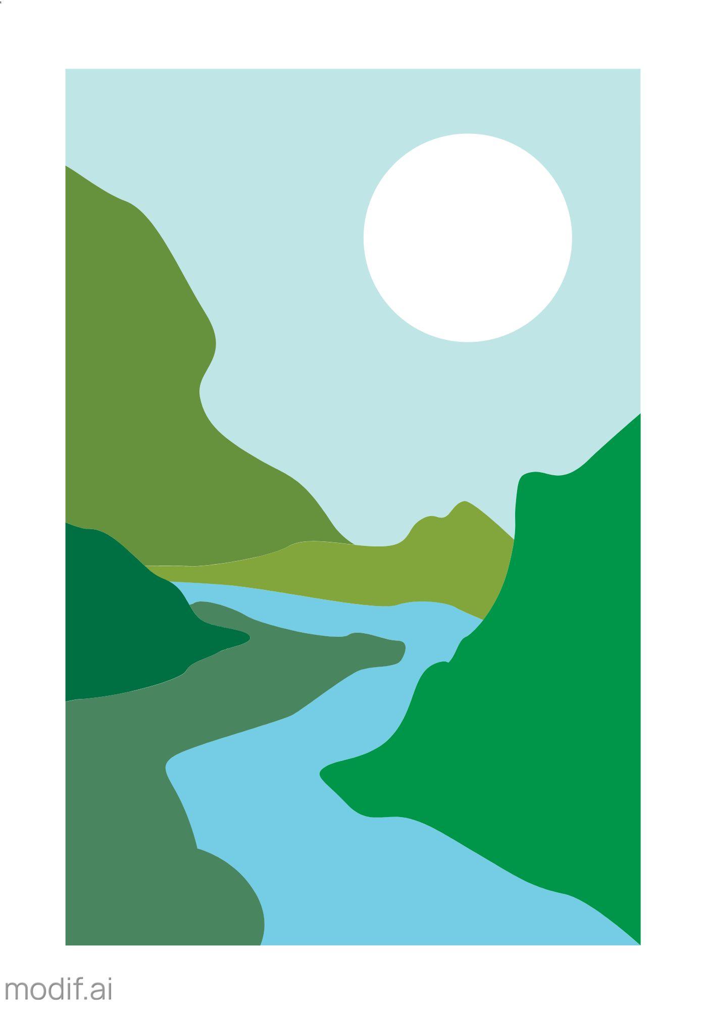 Minimal Mountain Art Wall Poster Template