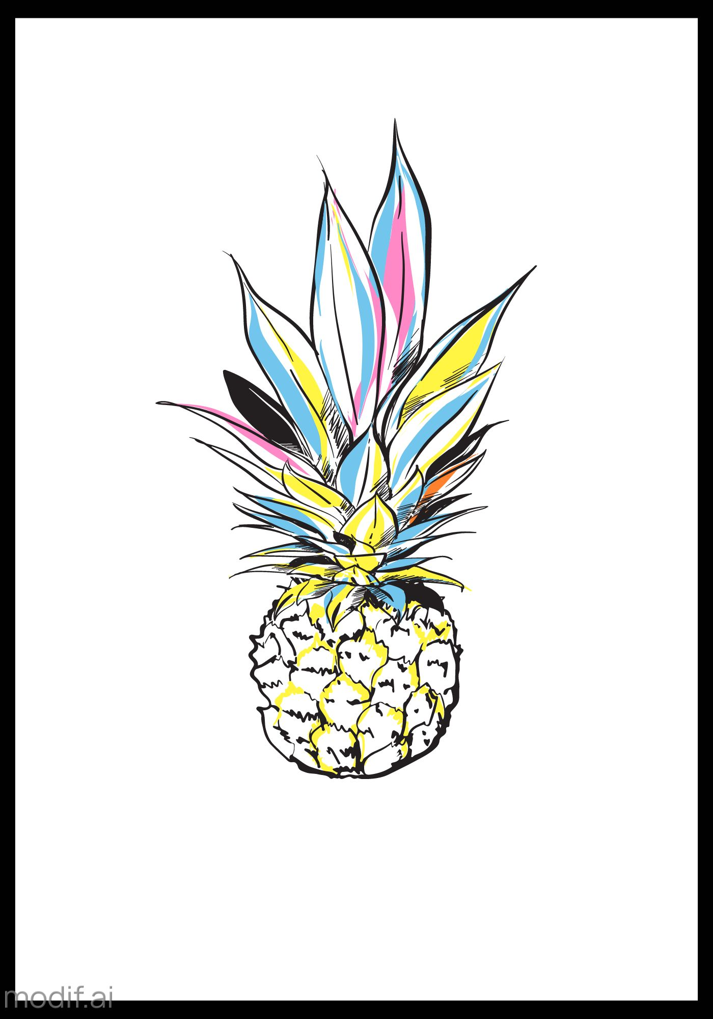 Bright Pineapple Wall Poster Template