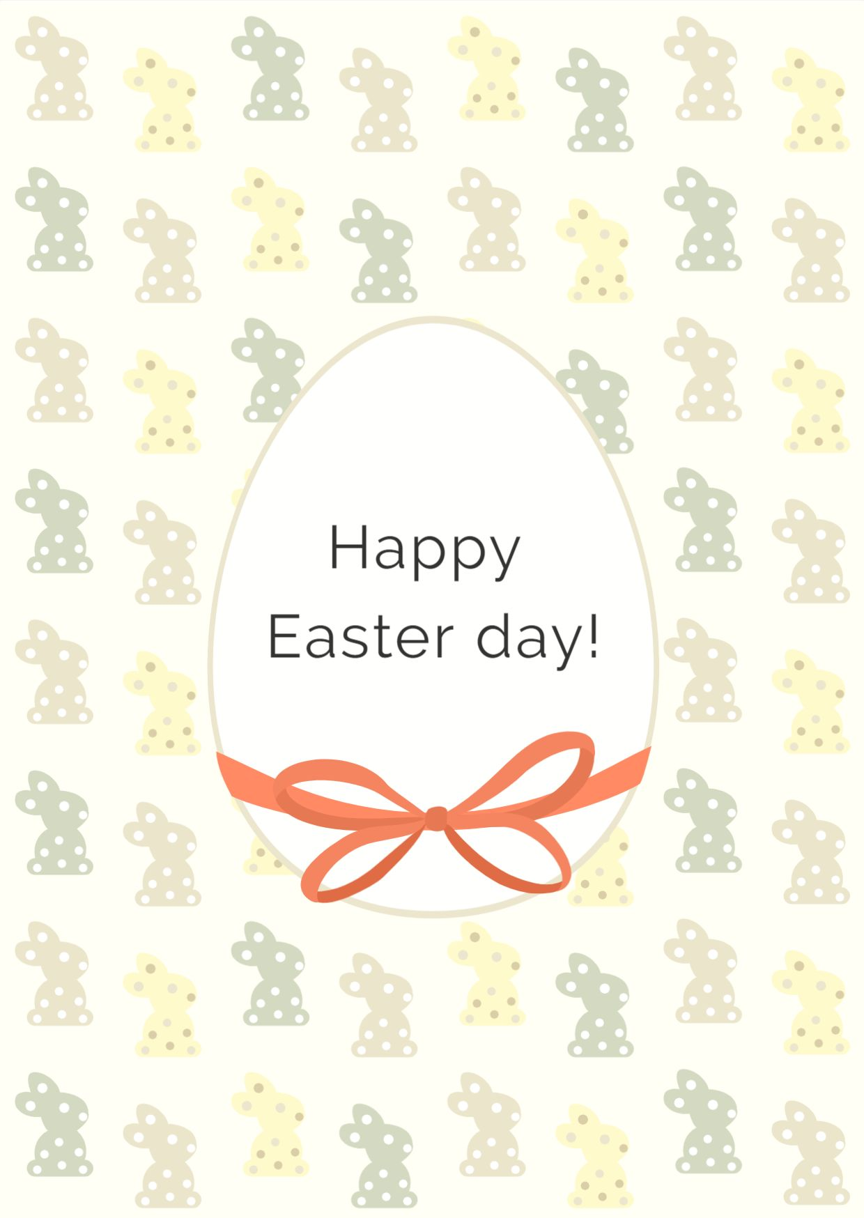Greeting Card Template with Bunnies