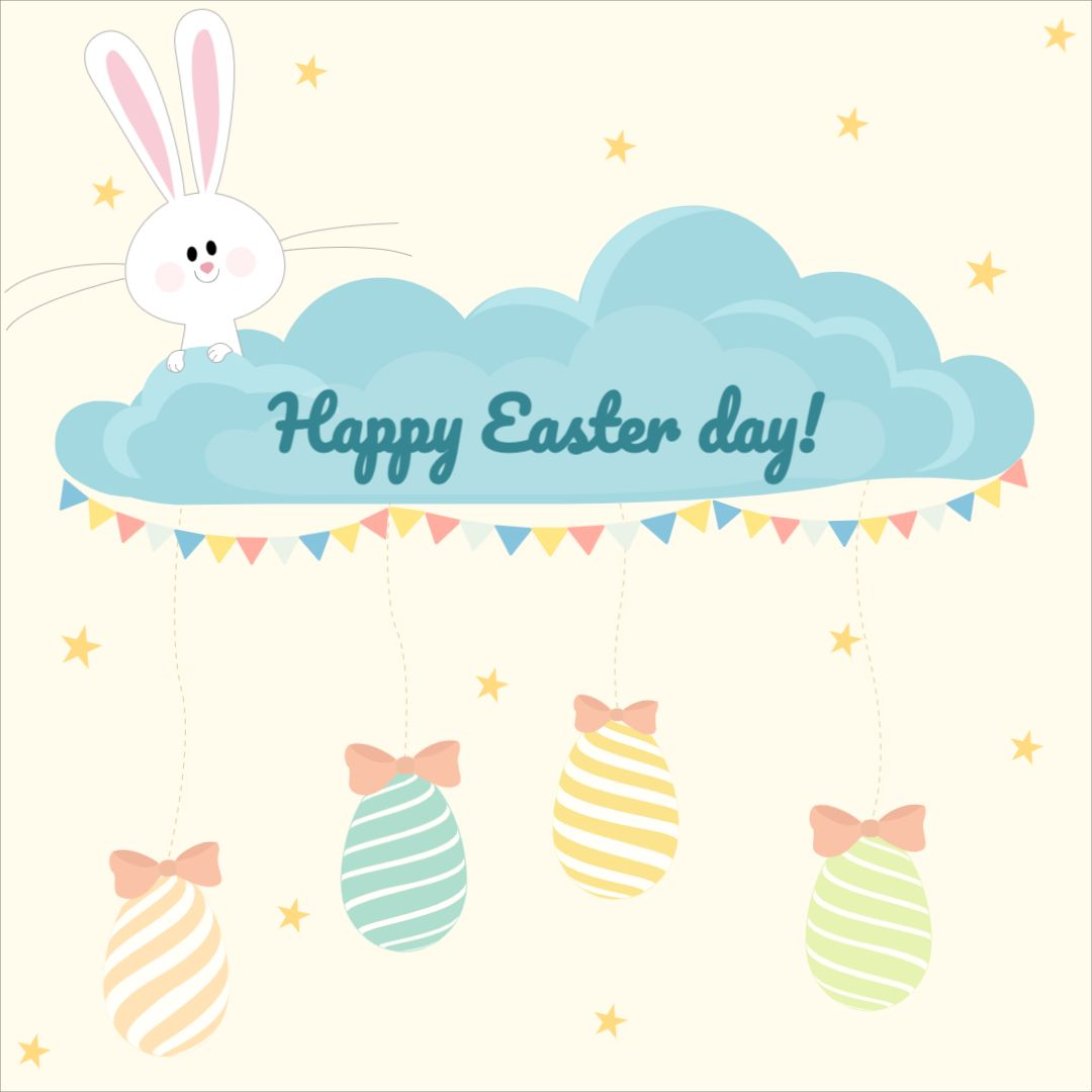 Cute Card Happy Easter Template