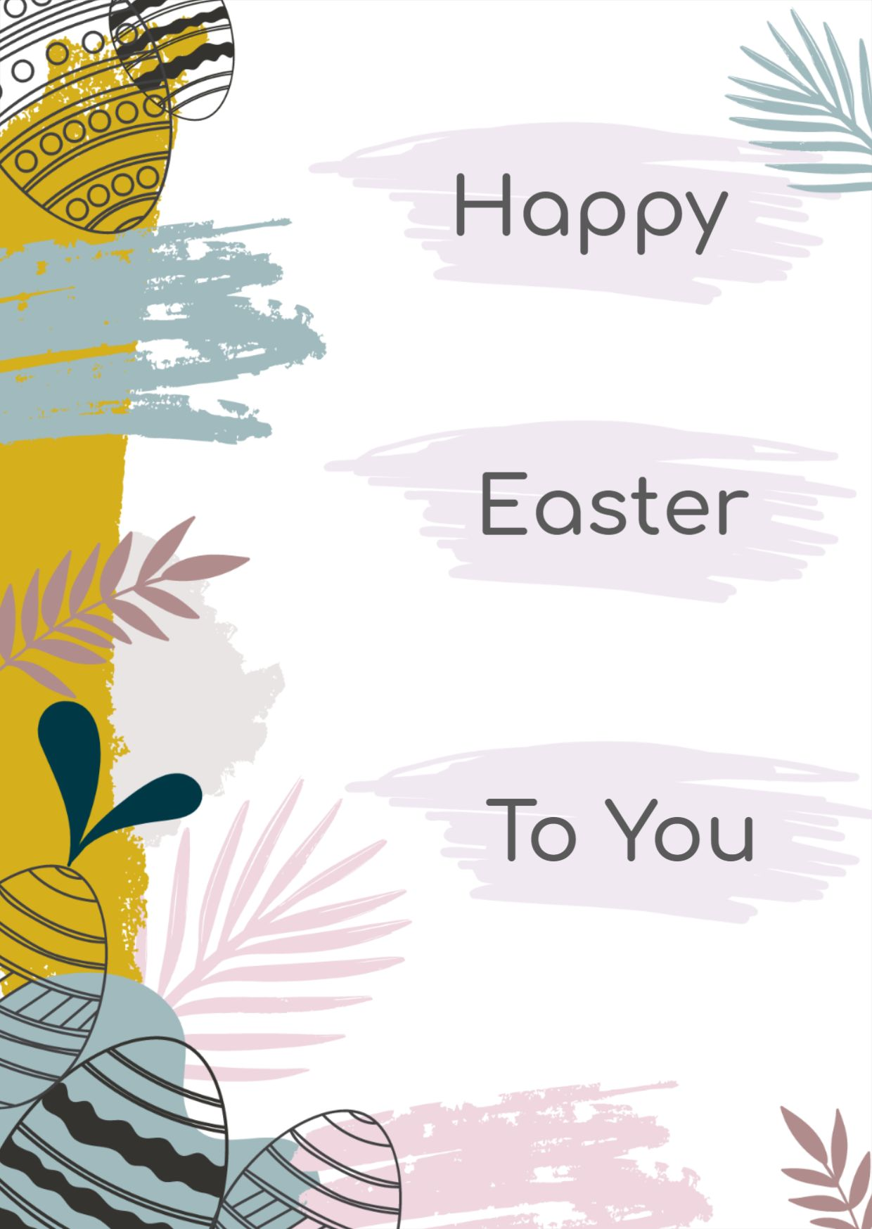 Happy Easter Greeting Card With Easter Eggs