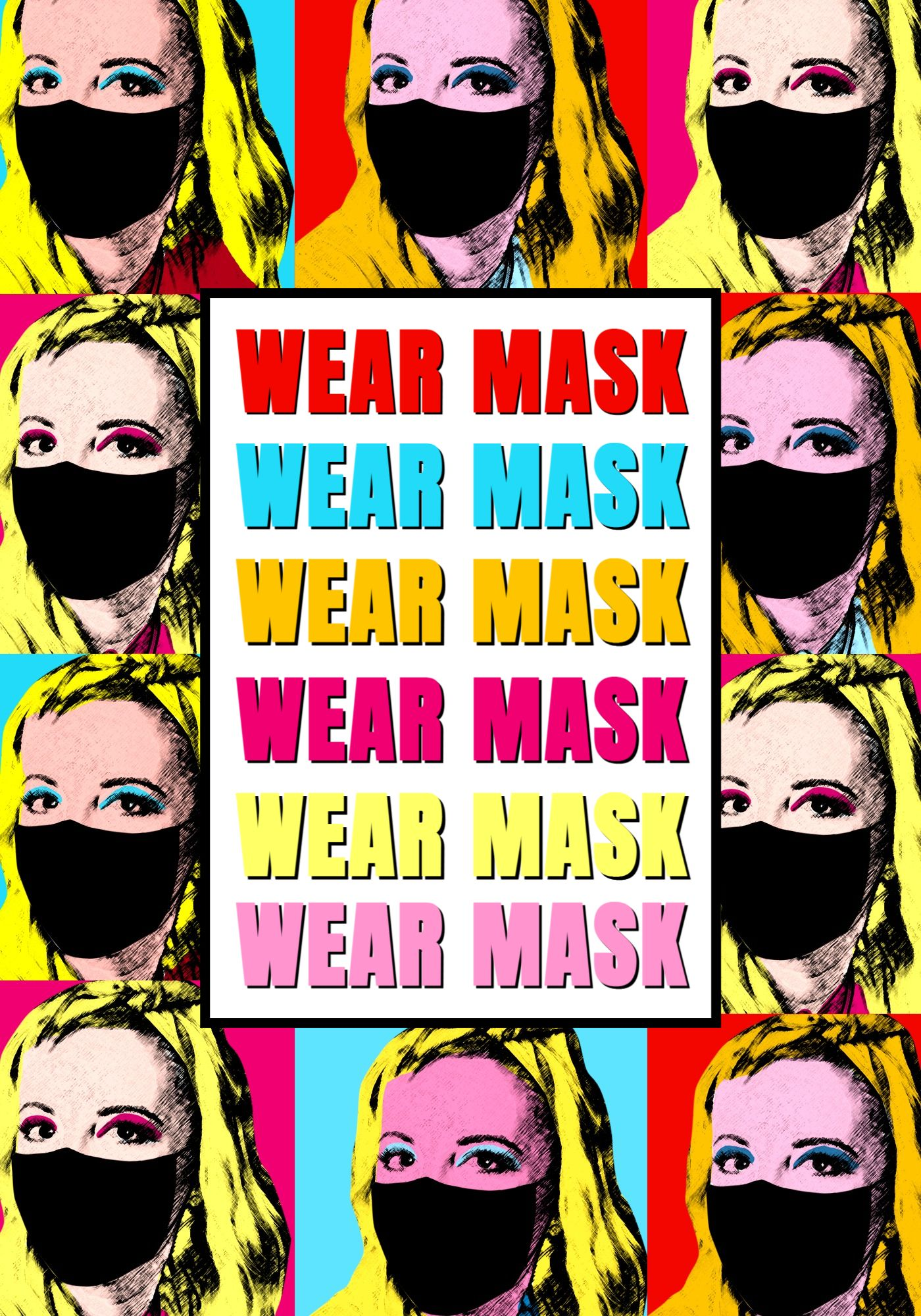 POP ART Mask Covid Poster Template