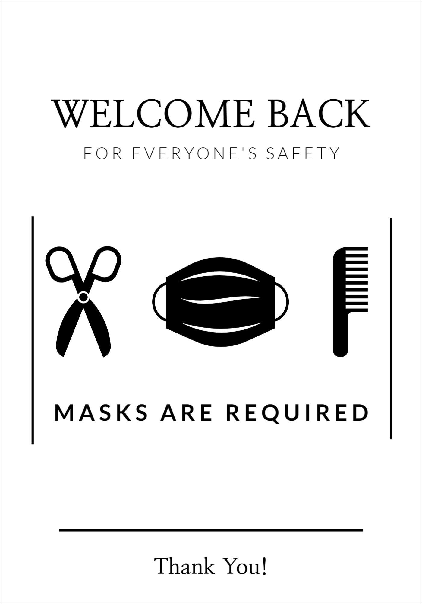 Hair Salon Mask Covid Poster Template