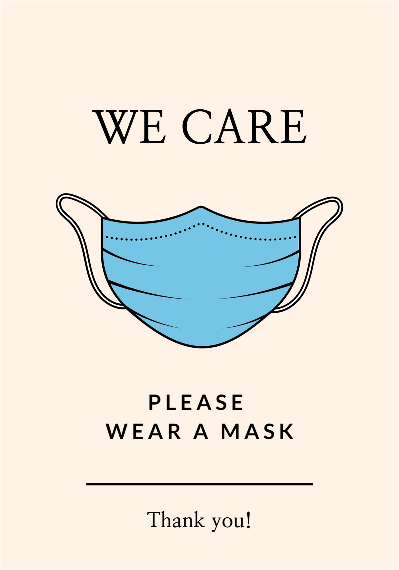 We Care Mask Covid Poster Template