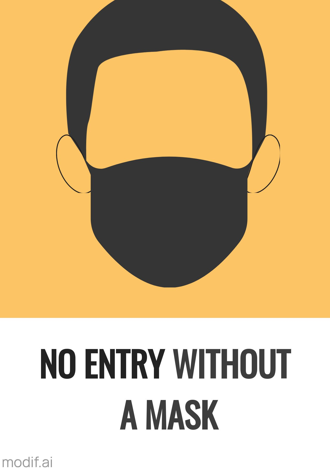 No Entry Without Mask Poster Template