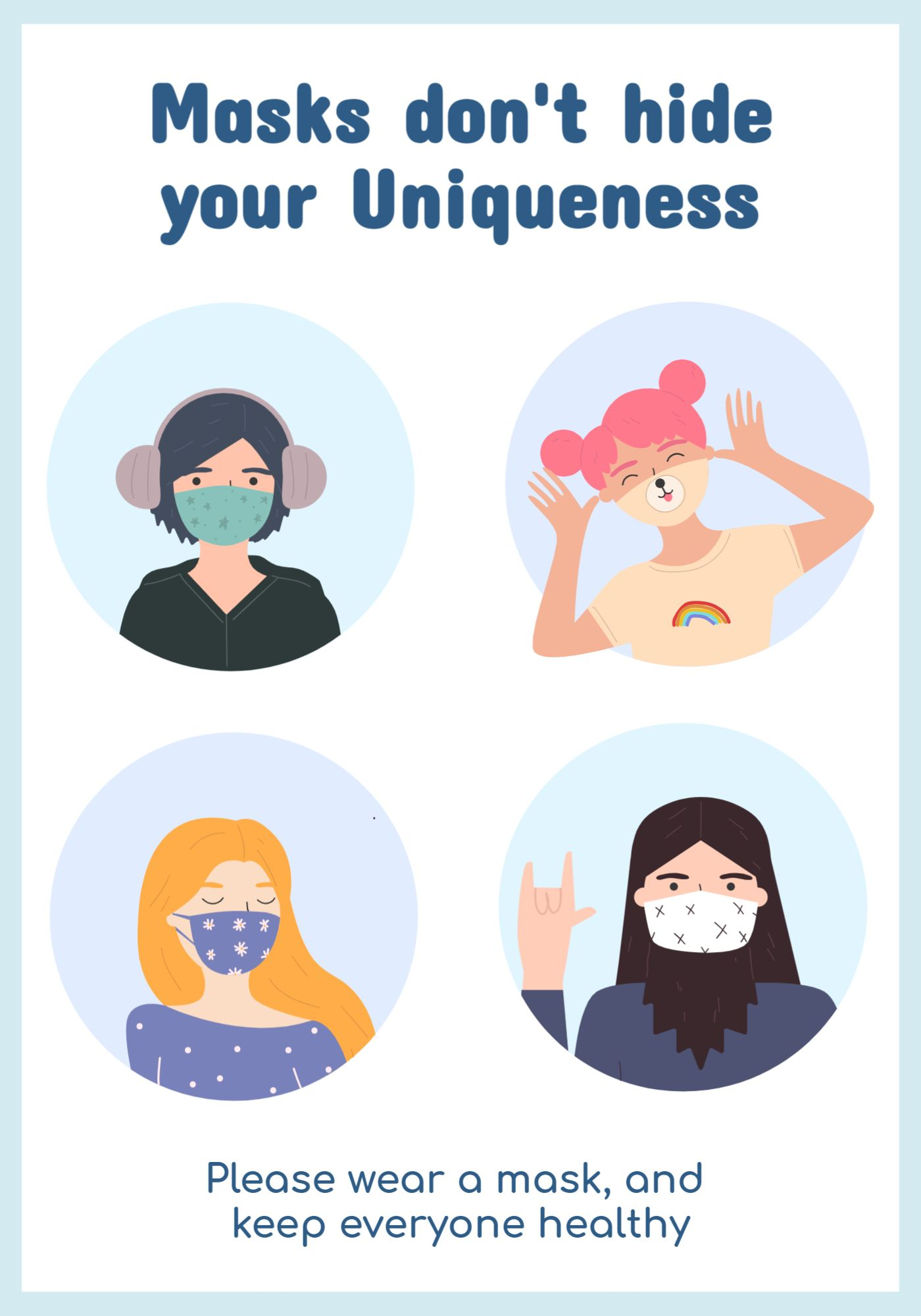 Cute Mask Awareness Poster Template